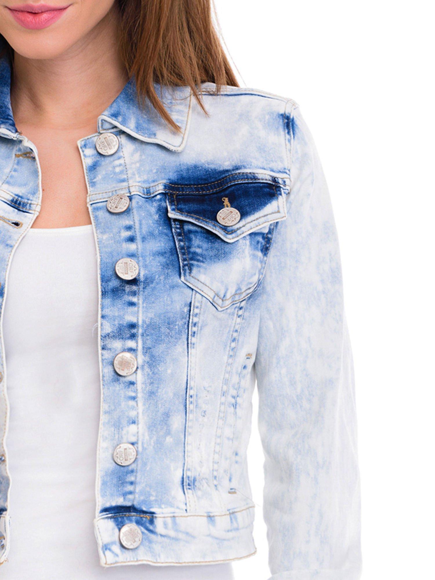 Niebieska marmurkowa kurtka jeansowa damska                                  zdj.                                  5