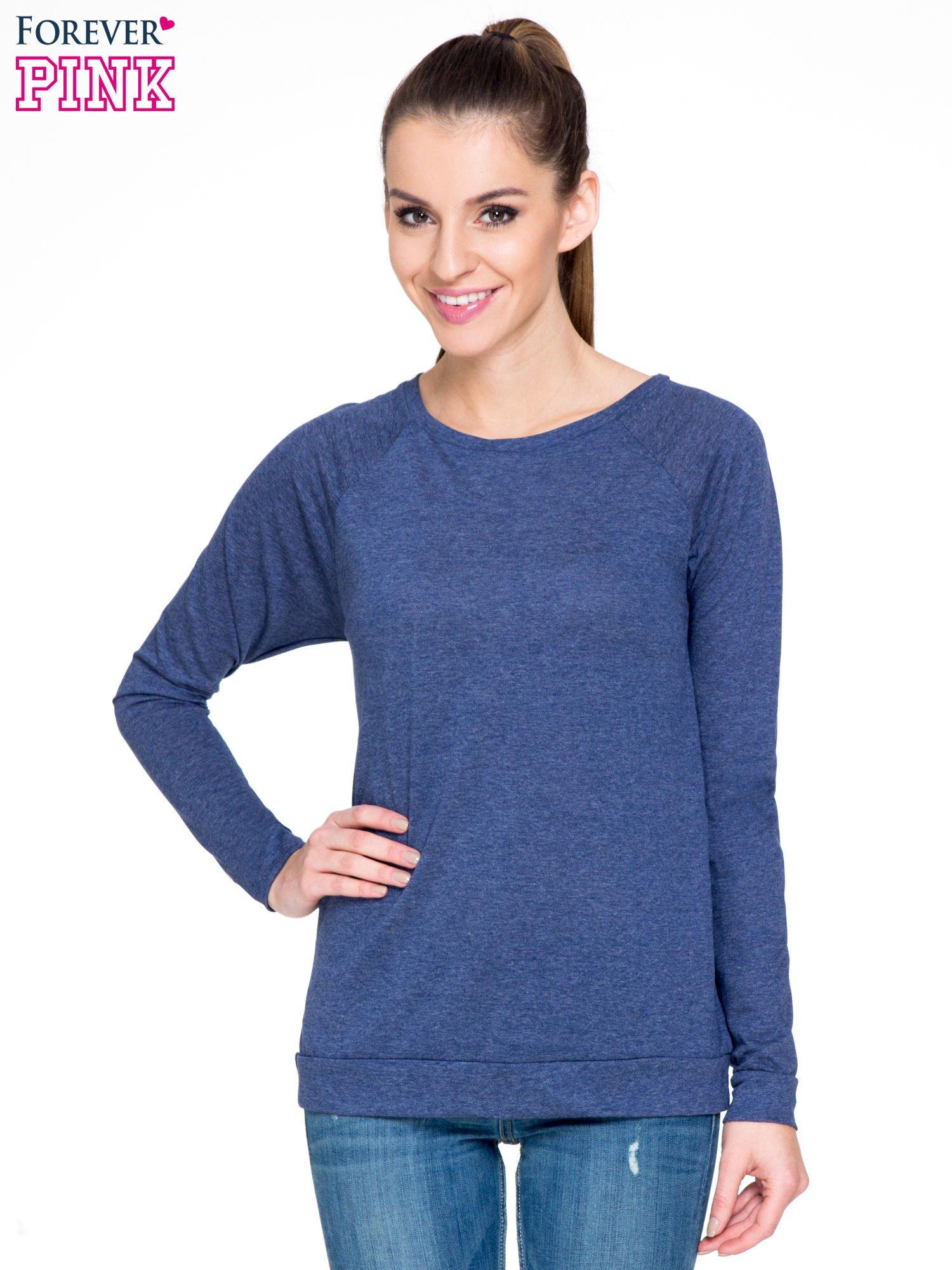 Niebieska melanżowa bawełniana bluzka z rękawami typu reglan                                  zdj.                                  1