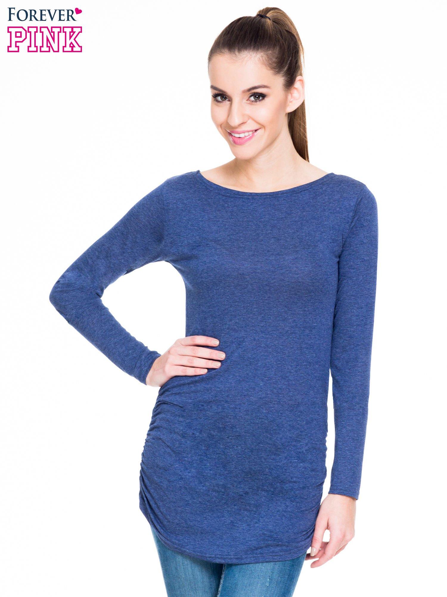 Niebieska melanżowa bluzka tunika z marszczonym dołem                                  zdj.                                  1