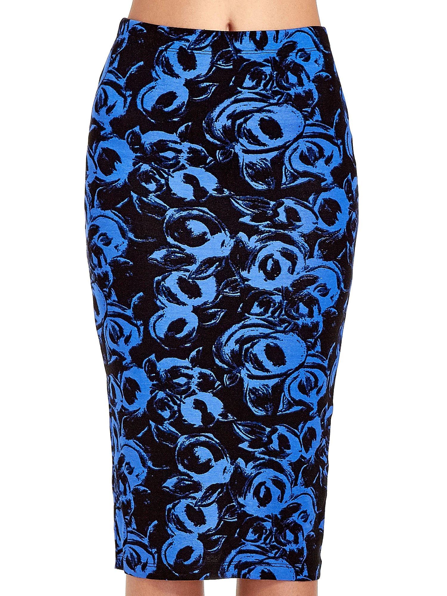 Niebieska spódnica ołówkowa w róże                                  zdj.                                  5