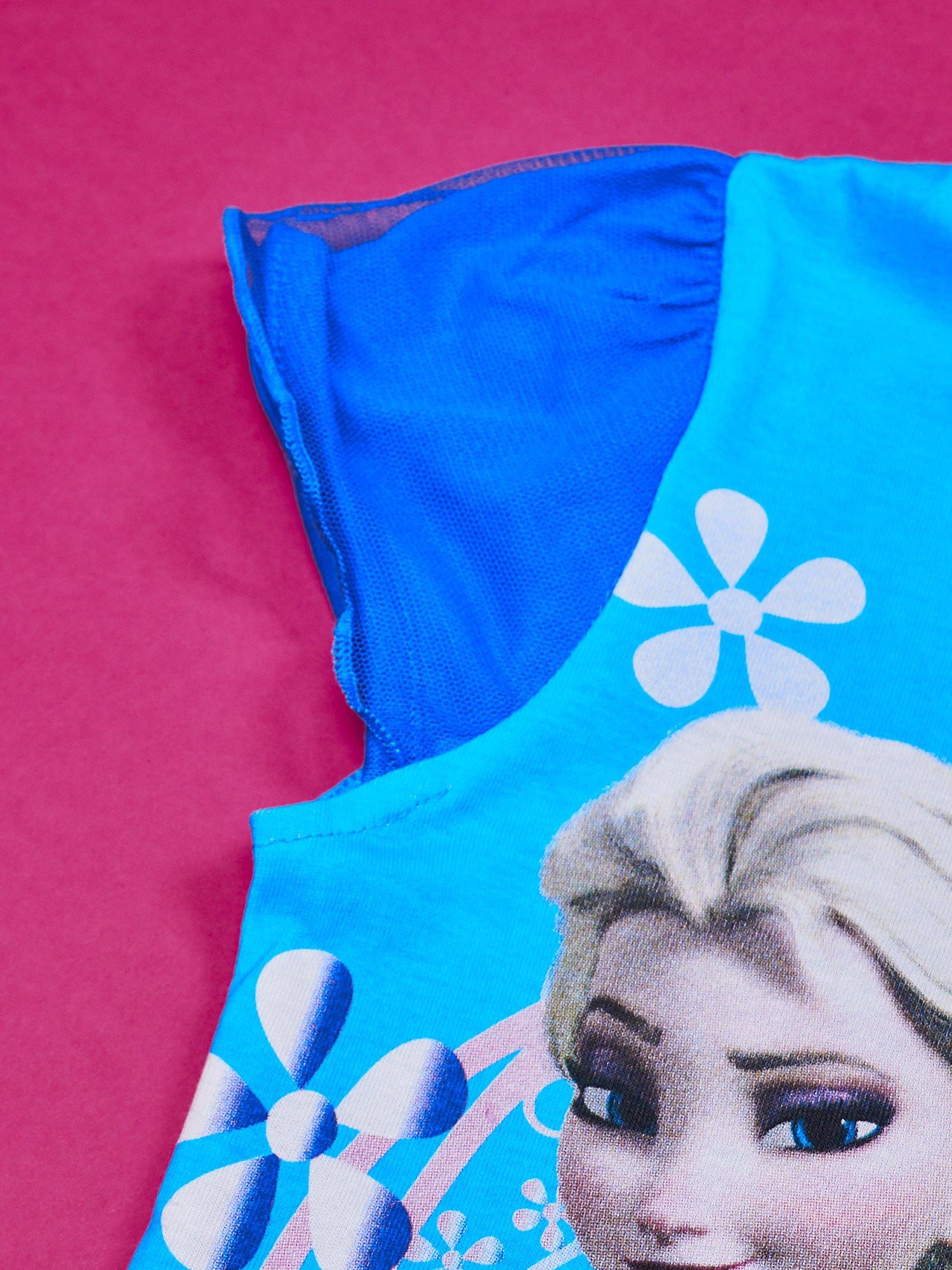 Niebieska sukienka dla dziewczynki z tiulowym wykończeniem FROZEN                                  zdj.                                  3