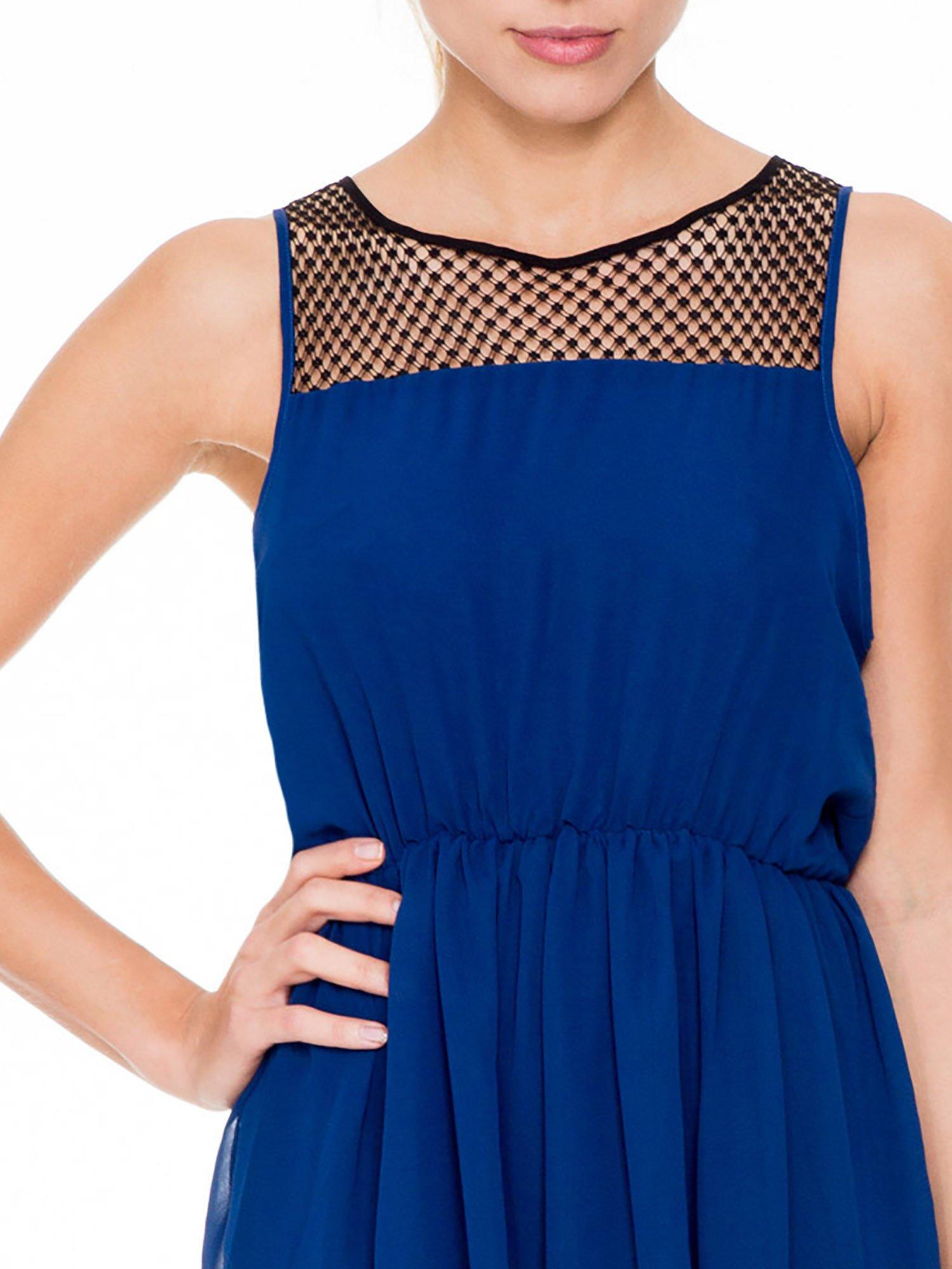 Niebieska sukienka z koronkowym karczkiem                                  zdj.                                  5