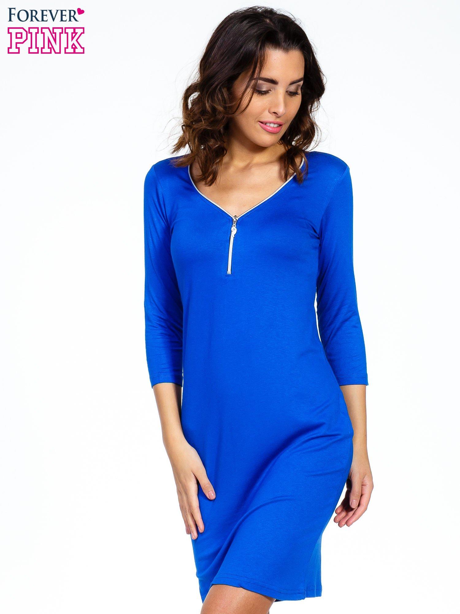 Niebieska sukienka z suwakiem                                  zdj.                                  1