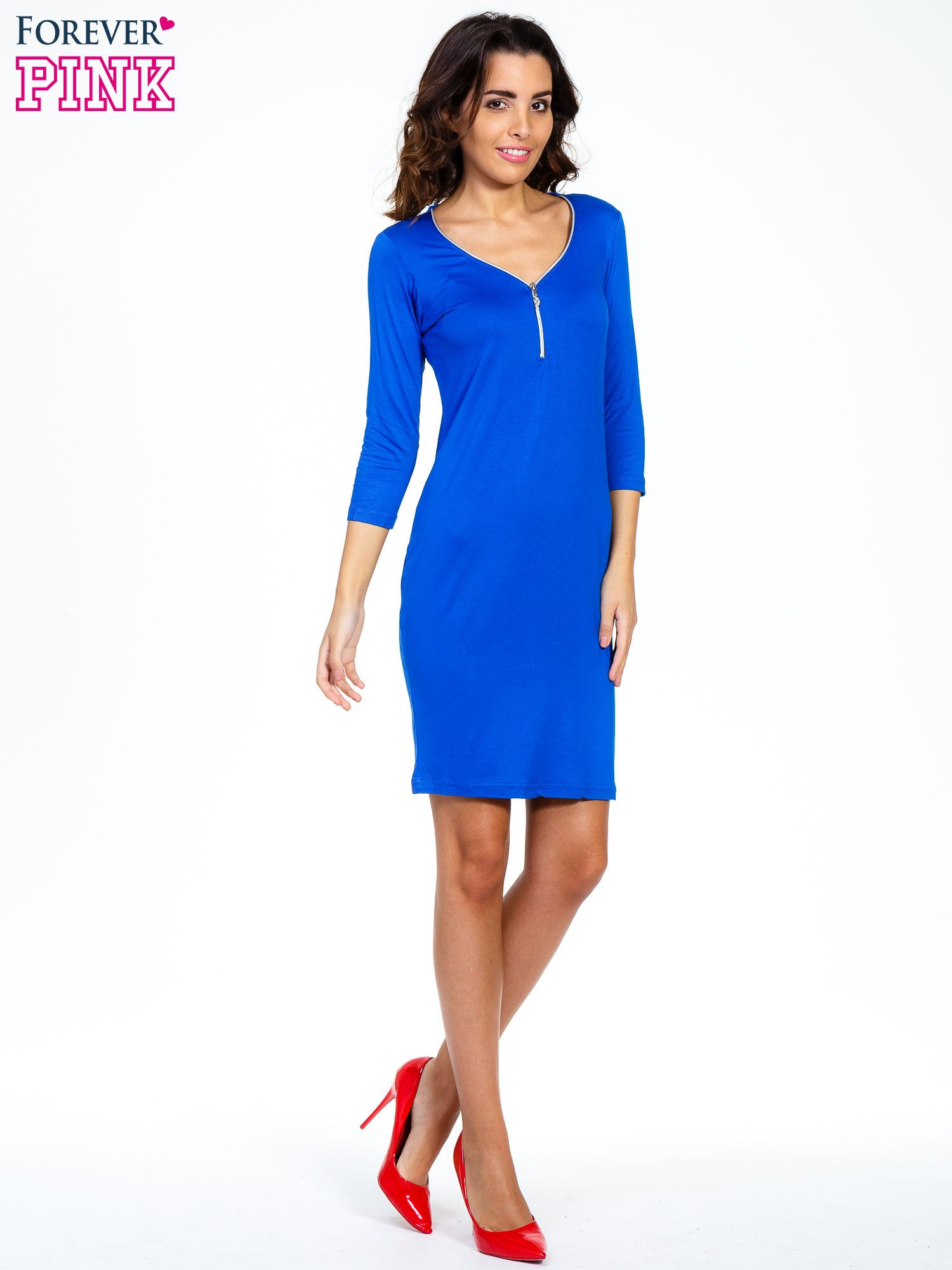 Niebieska sukienka z suwakiem                                  zdj.                                  7