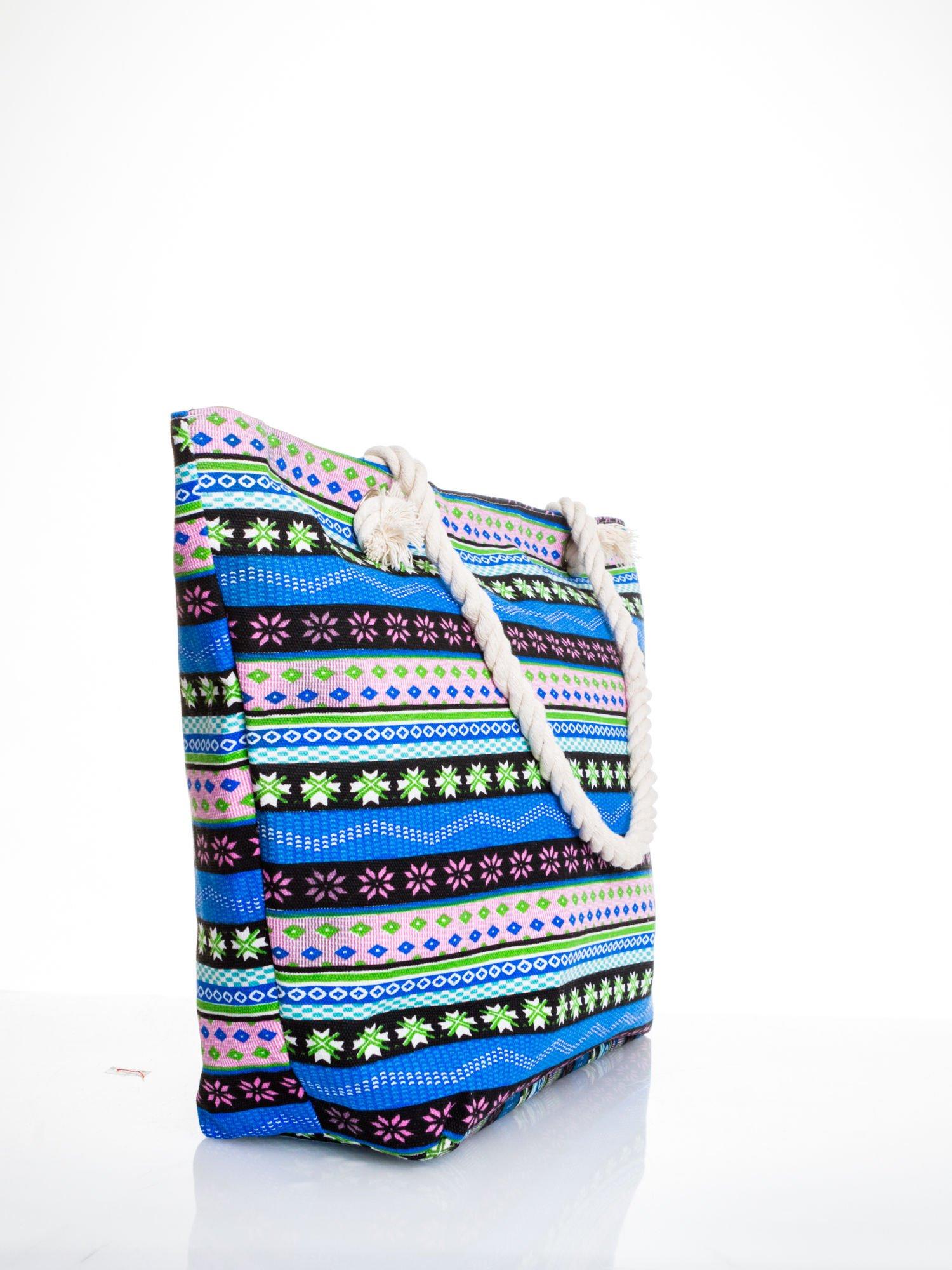 Niebieska torba plażowa w azteckie wzory                                  zdj.                                  3