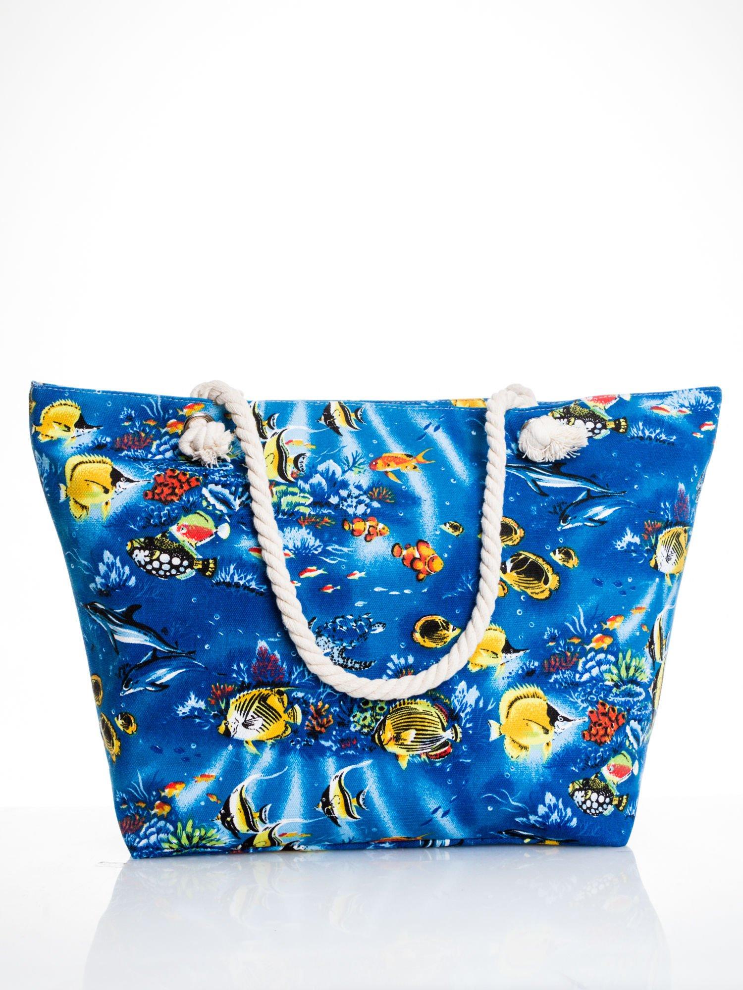 Niebieska torba plażowa z nadrukiem rafy koralowej                                  zdj.                                  1