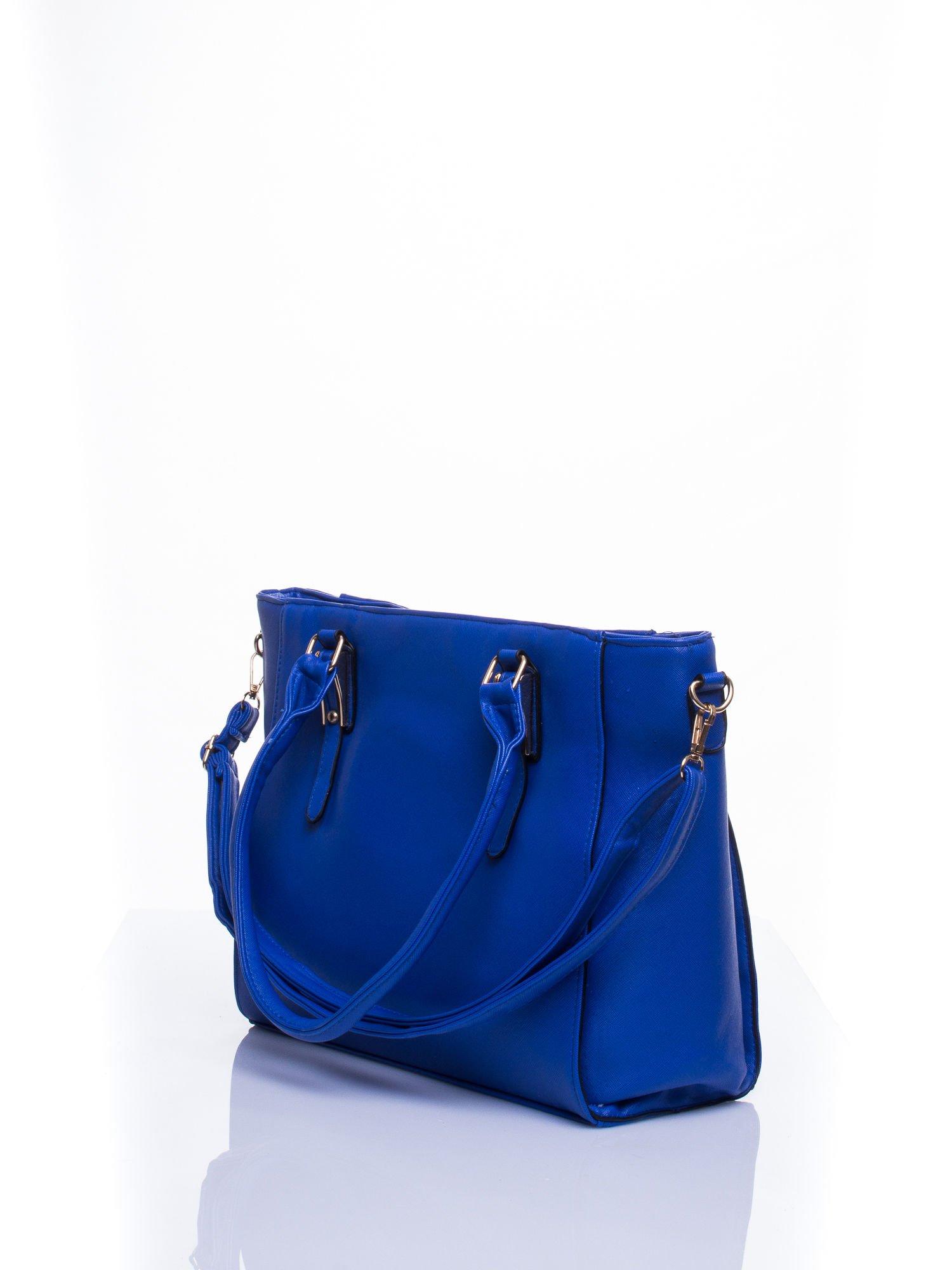 Niebieska torba shopper bag z odpinanym paskiem                                  zdj.                                  4
