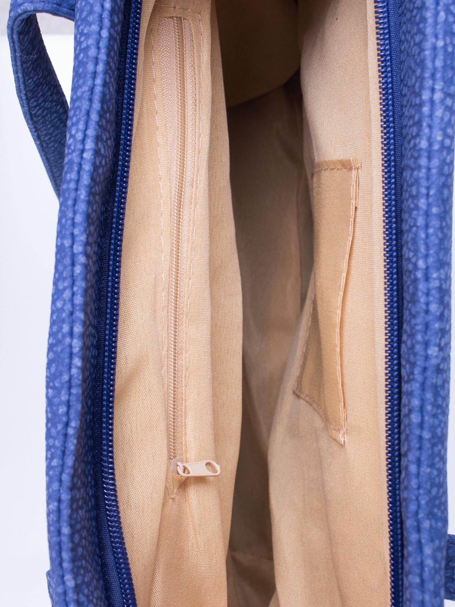 Niebieska torba shopperka z odczepianym paskiem                                   zdj.                                  5