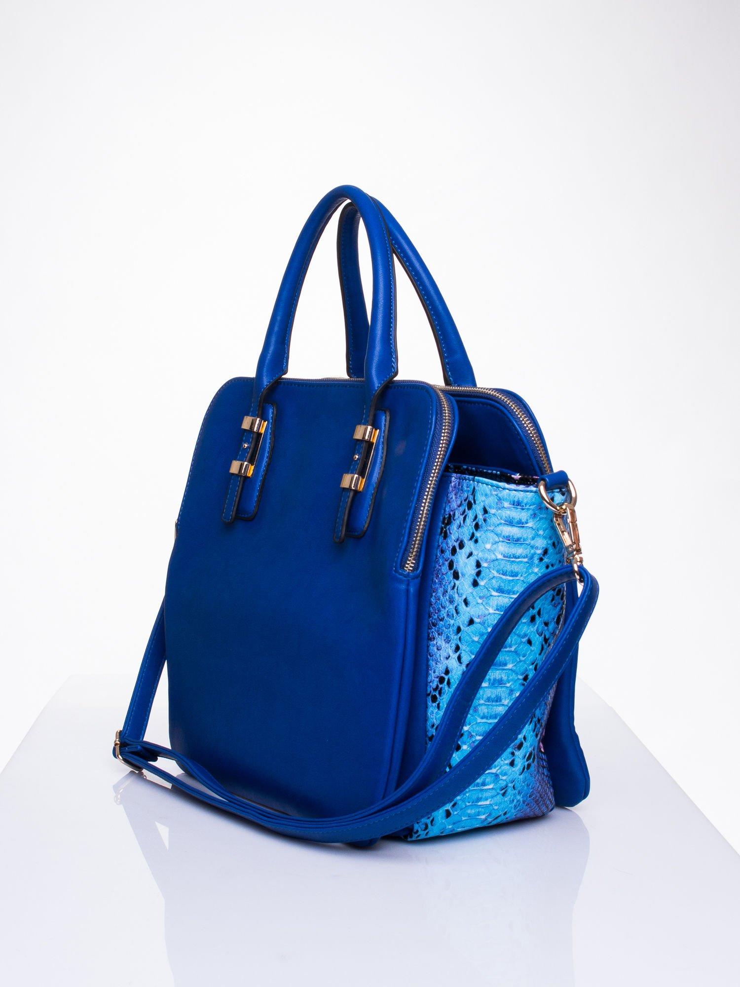 Niebieska torba z wstawkami animal print                                  zdj.                                  3
