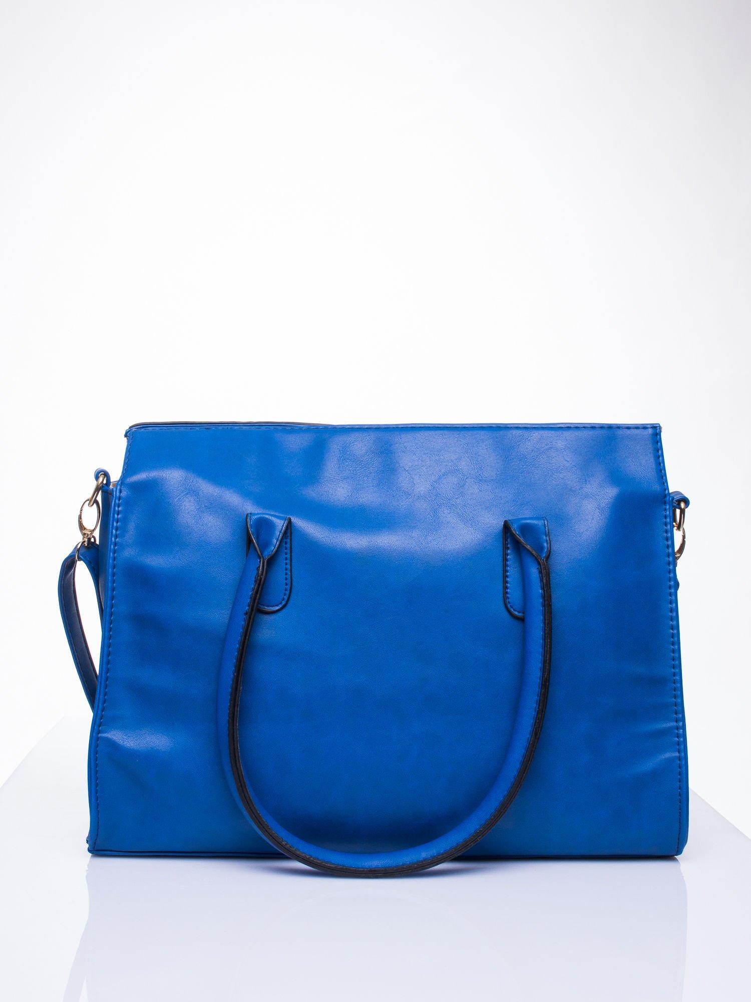 Niebieska torebka teczka z klapką                                  zdj.                                  4