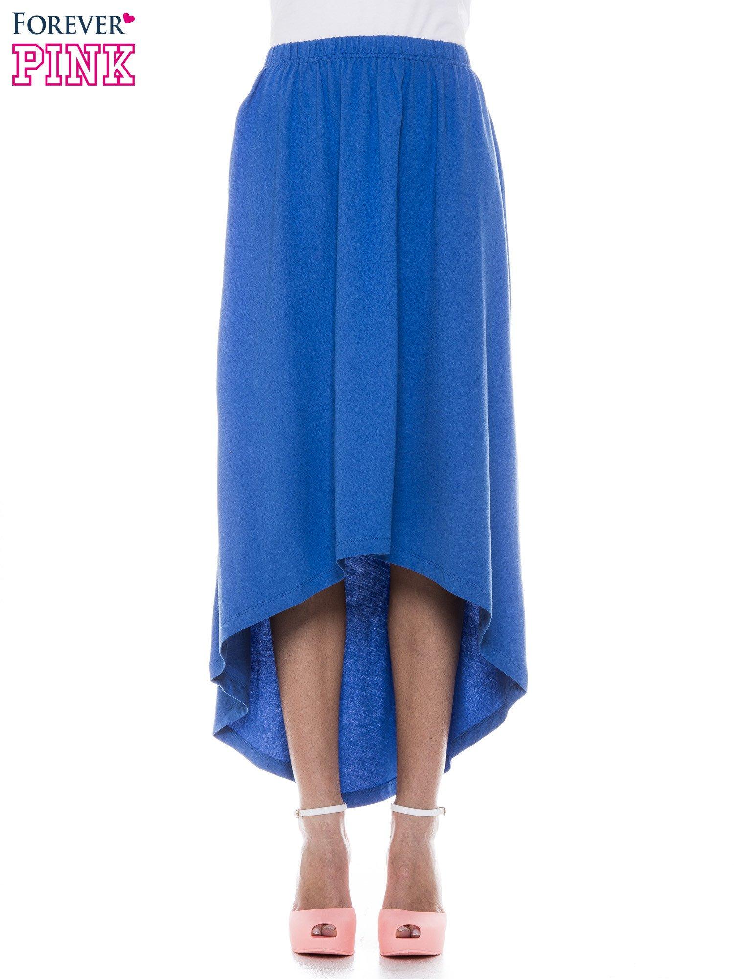 Niebieska zwiewna spódnica z dłuższym tyłem                                  zdj.                                  1
