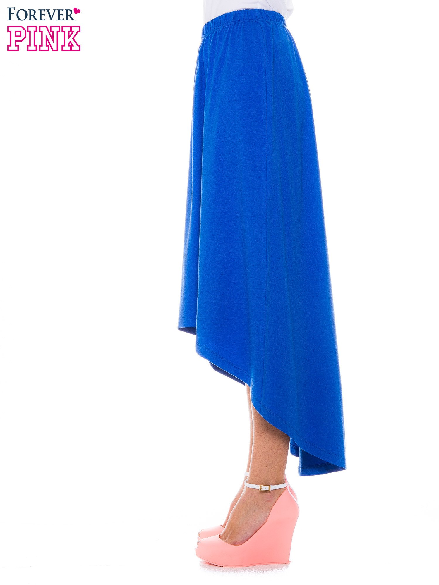 Niebieska zwiewna spódnica z dłuższym tyłem                                  zdj.                                  2