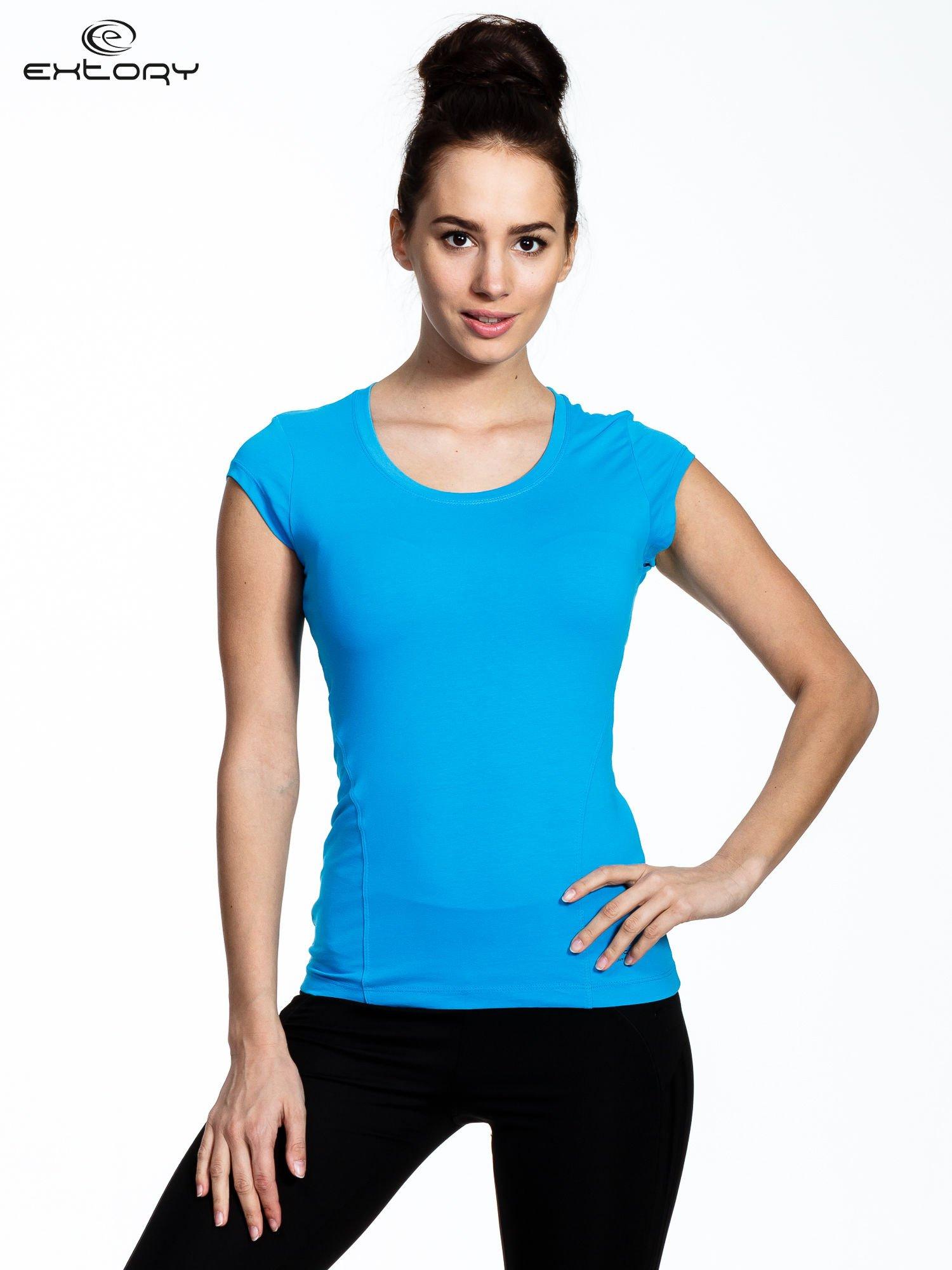 Niebieski damski t-shirt sportowy basic                                  zdj.                                  1