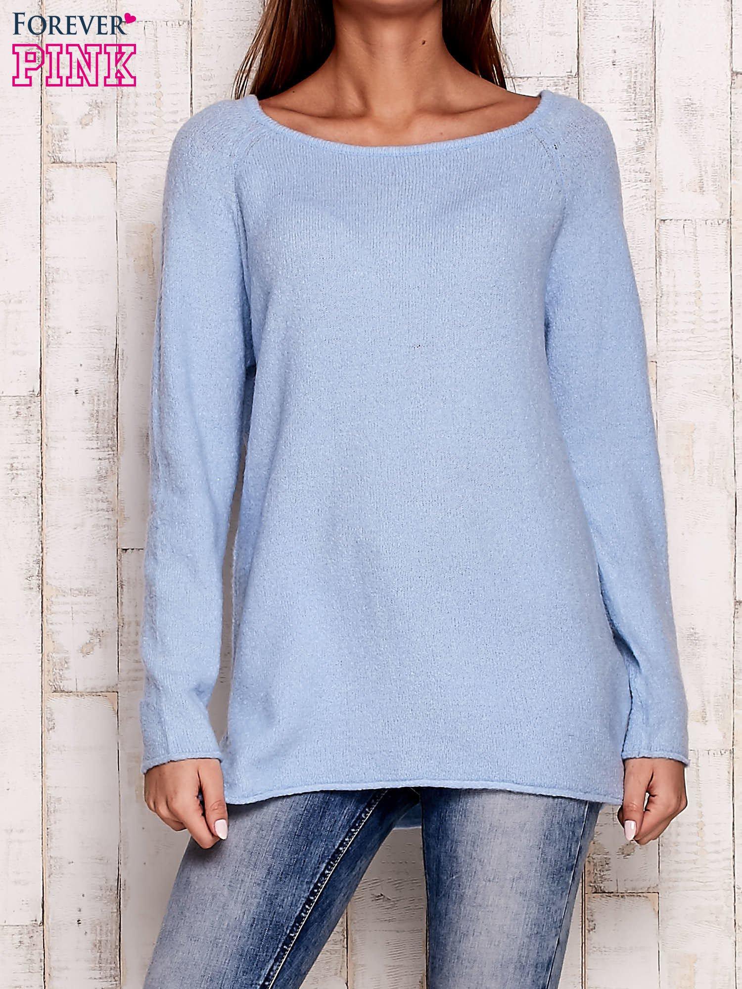 Niebieski dzianinowy sweter                                   zdj.                                  1