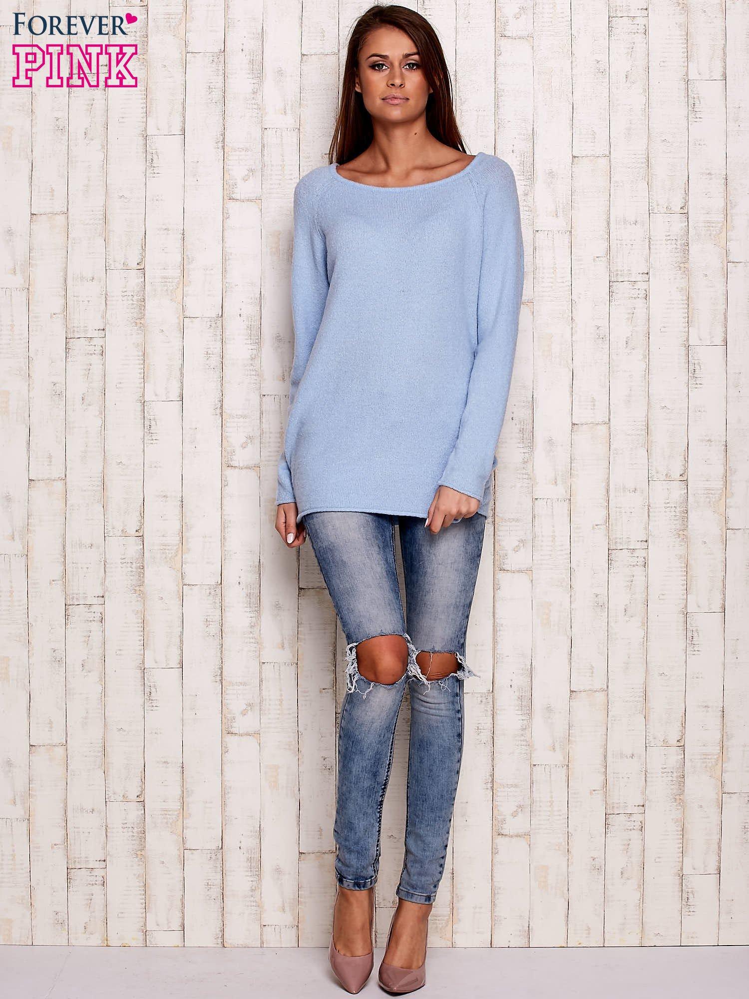 Niebieski dzianinowy sweter                                   zdj.                                  2