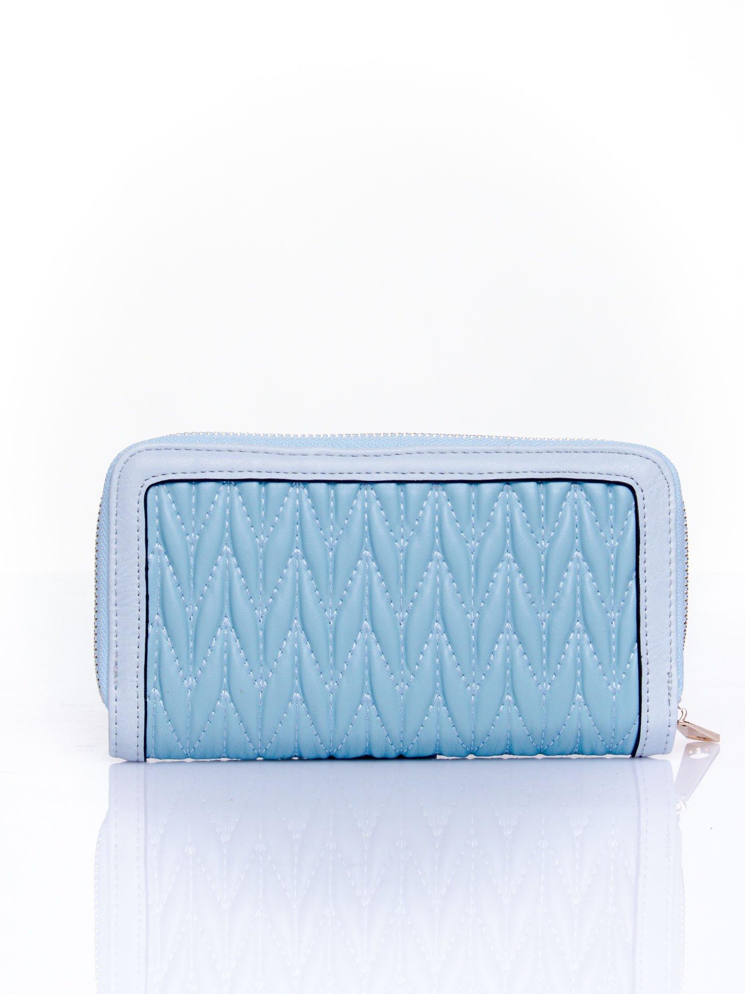 Niebieski pikowany portfel ze złotym suwakiem                                  zdj.                                  2