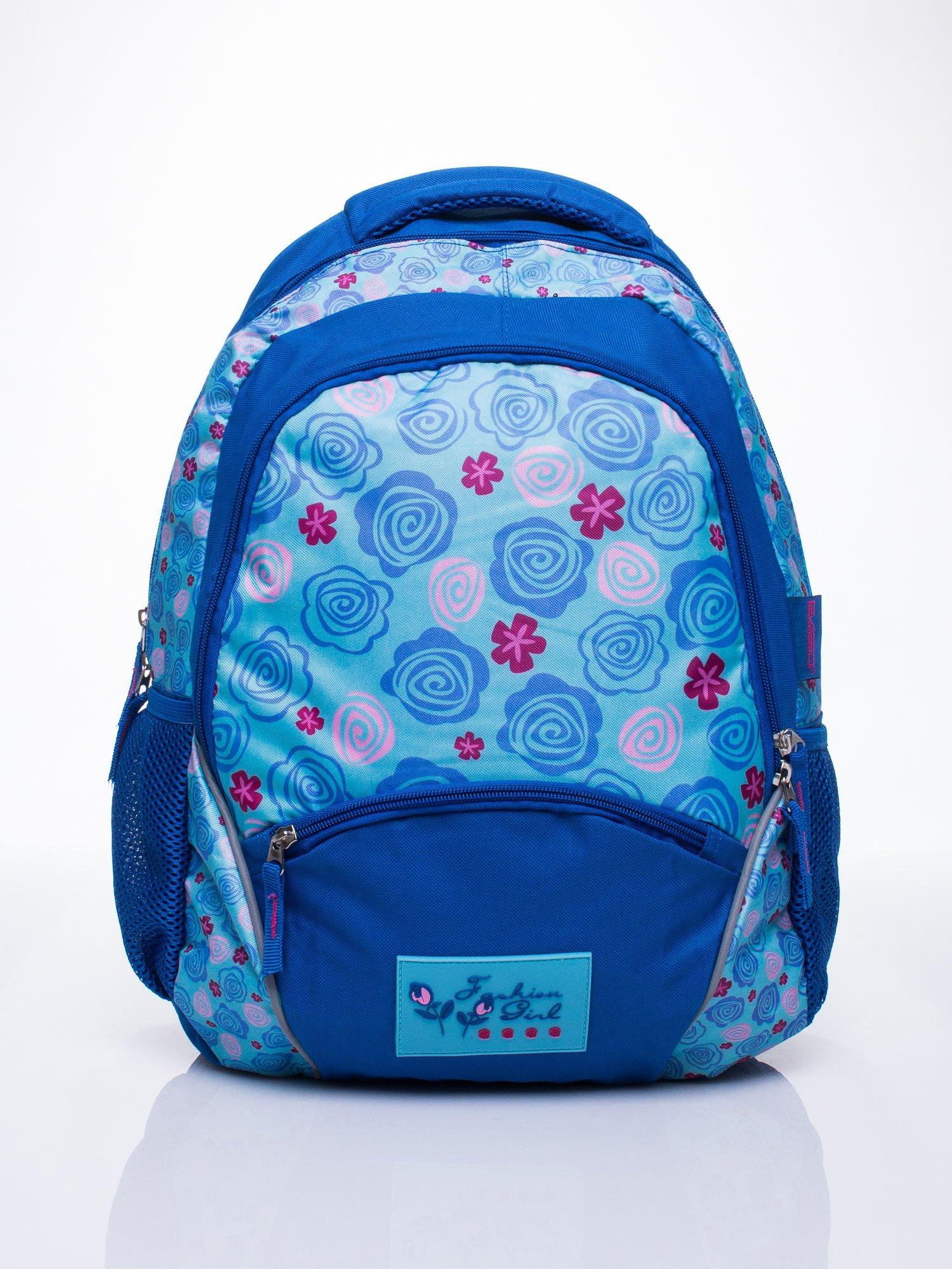 Niebieski plecak szkolny DISNEY w kwiatki                                  zdj.                                  1