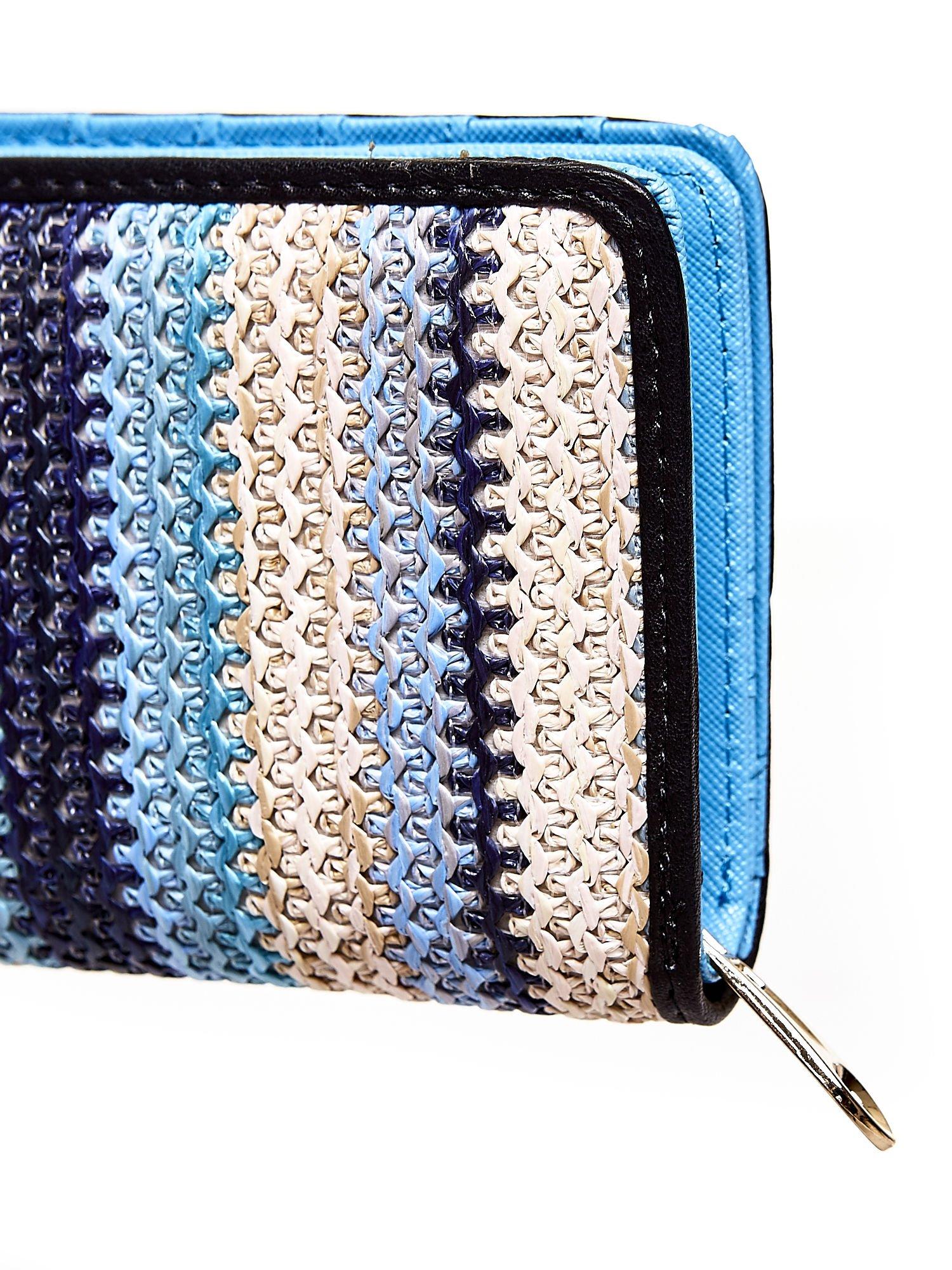 Niebieski pleciony portfel w pionowe granatowe paski                                  zdj.                                  5
