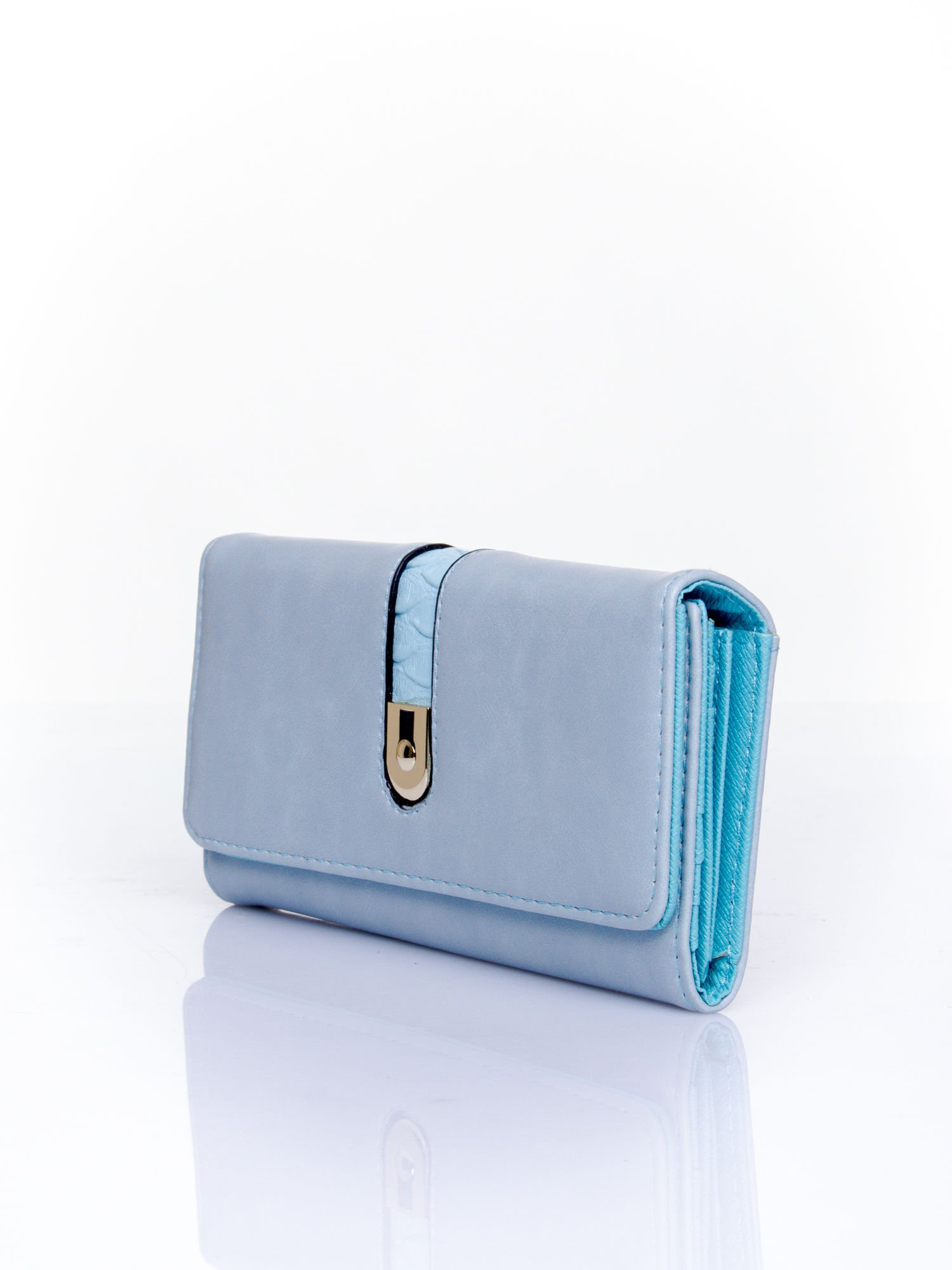 Niebieski portfel ze złotym zapięciem                                   zdj.                                  3