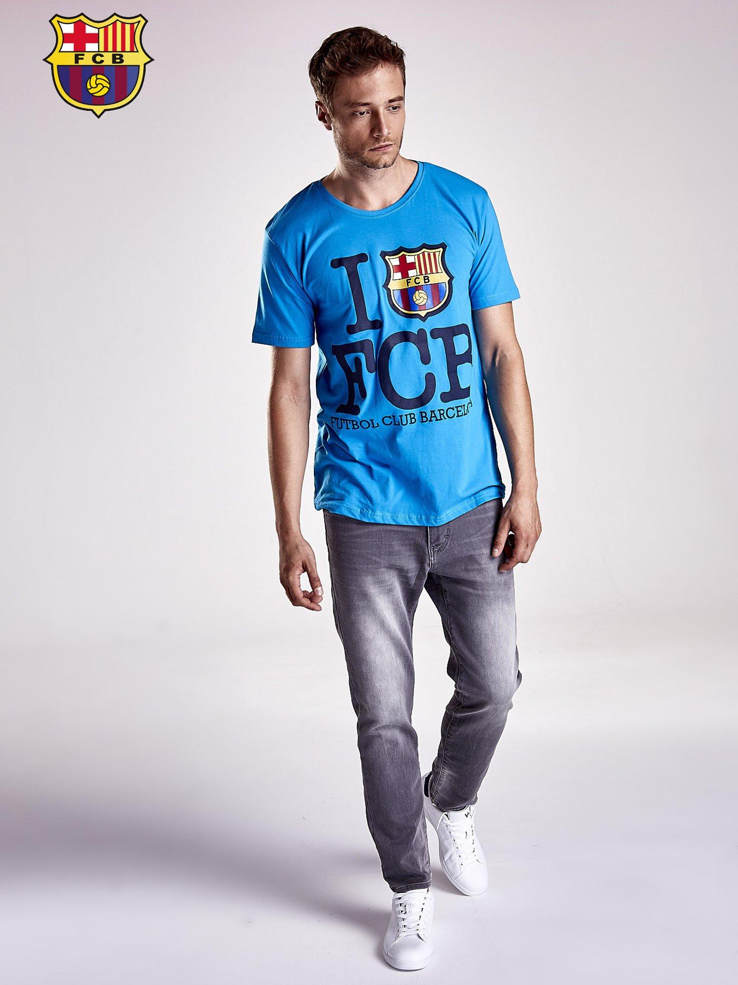Niebieski t-shirt męski FC BARCELONA                                  zdj.                                  4