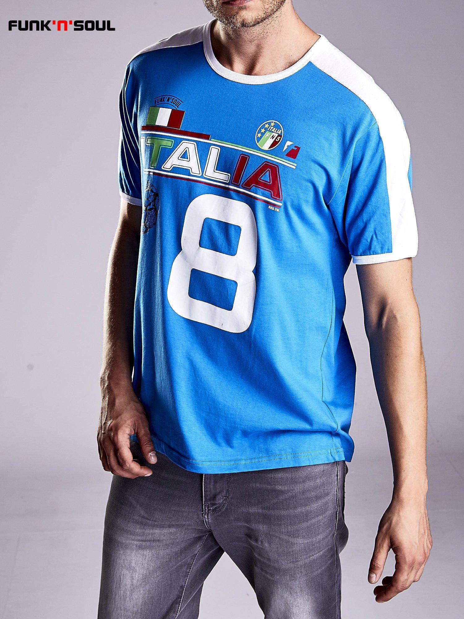 Niebieski t-shirt męski z napisem ITALIA Funk n Soul                                  zdj.                                  5