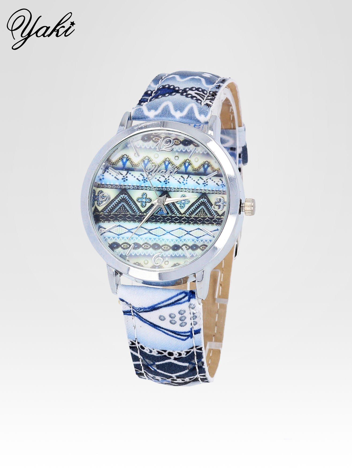 Niebieski zegarek damski z motywem azteckim                                  zdj.                                  2