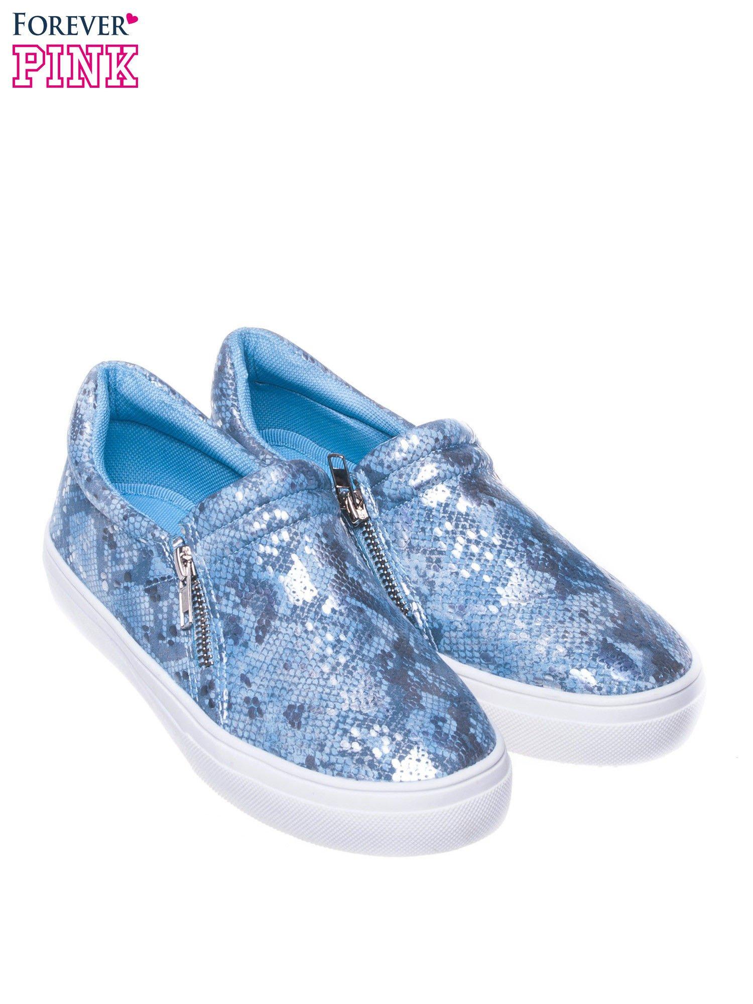 Niebieskie buty slip on ze skóry węża                                  zdj.                                  2