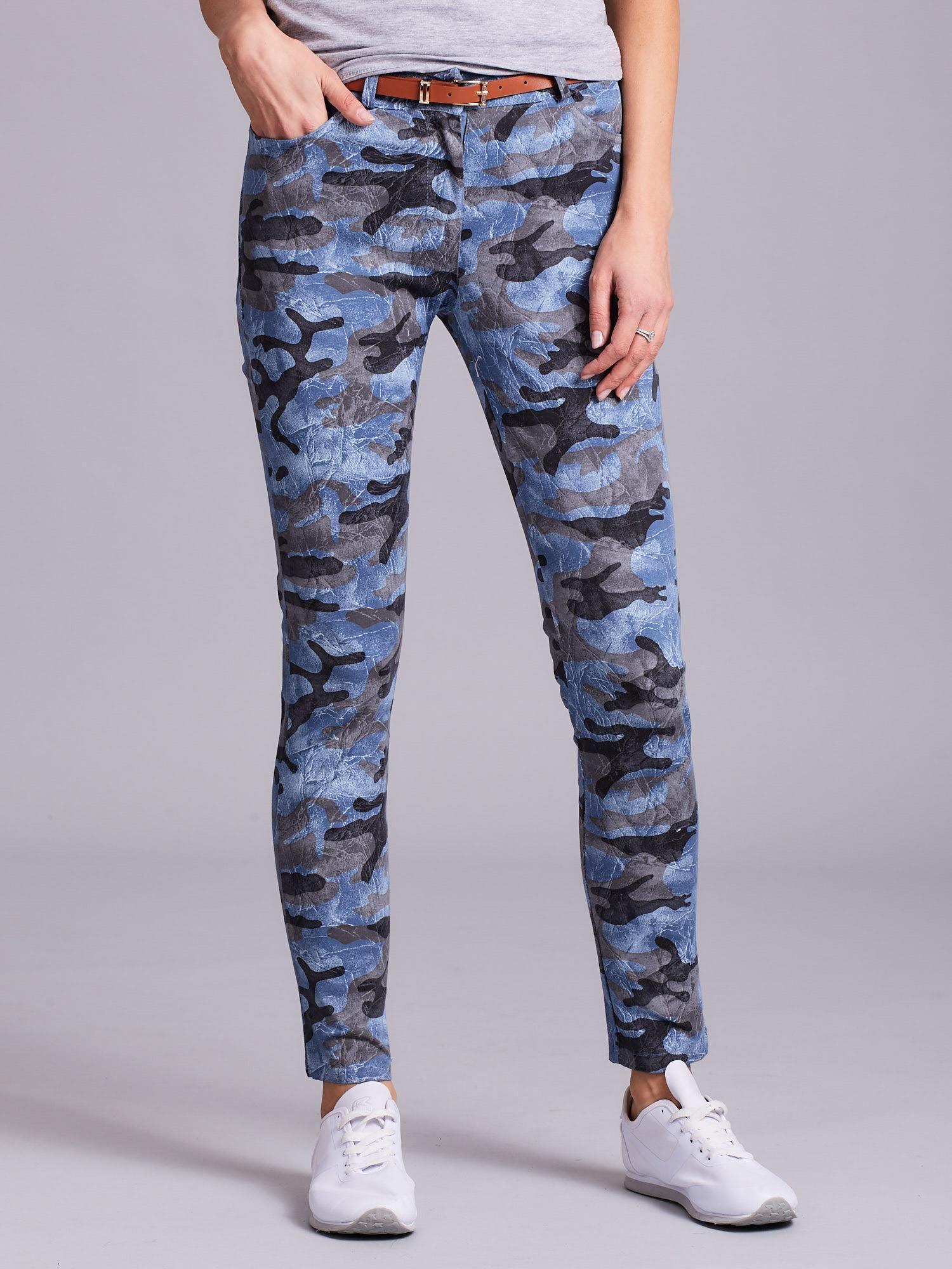 7d652e3c9c9513 Niebieskie damskie spodnie moro - Spodnie z materiału - sklep eButik.pl