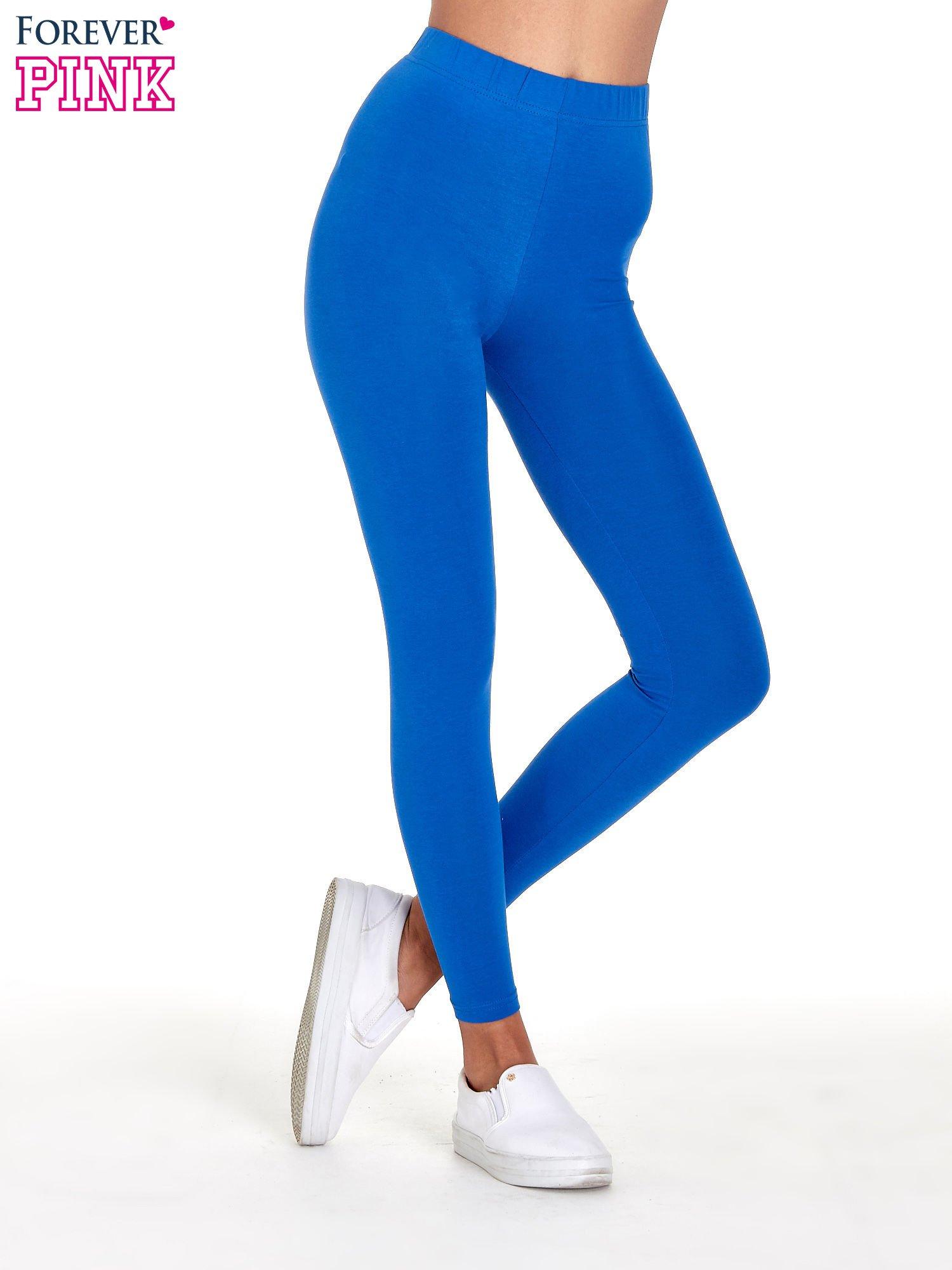 Niebieskie gładkie legginsy damskie basic                                  zdj.                                  1