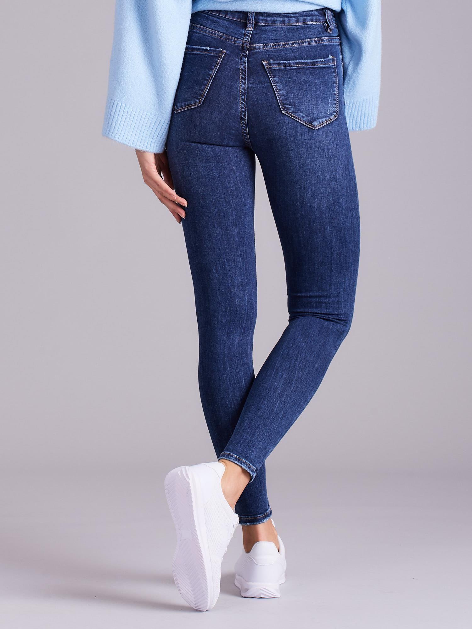87ac8884 Niebieskie jeansy damskie z wysokim stanem