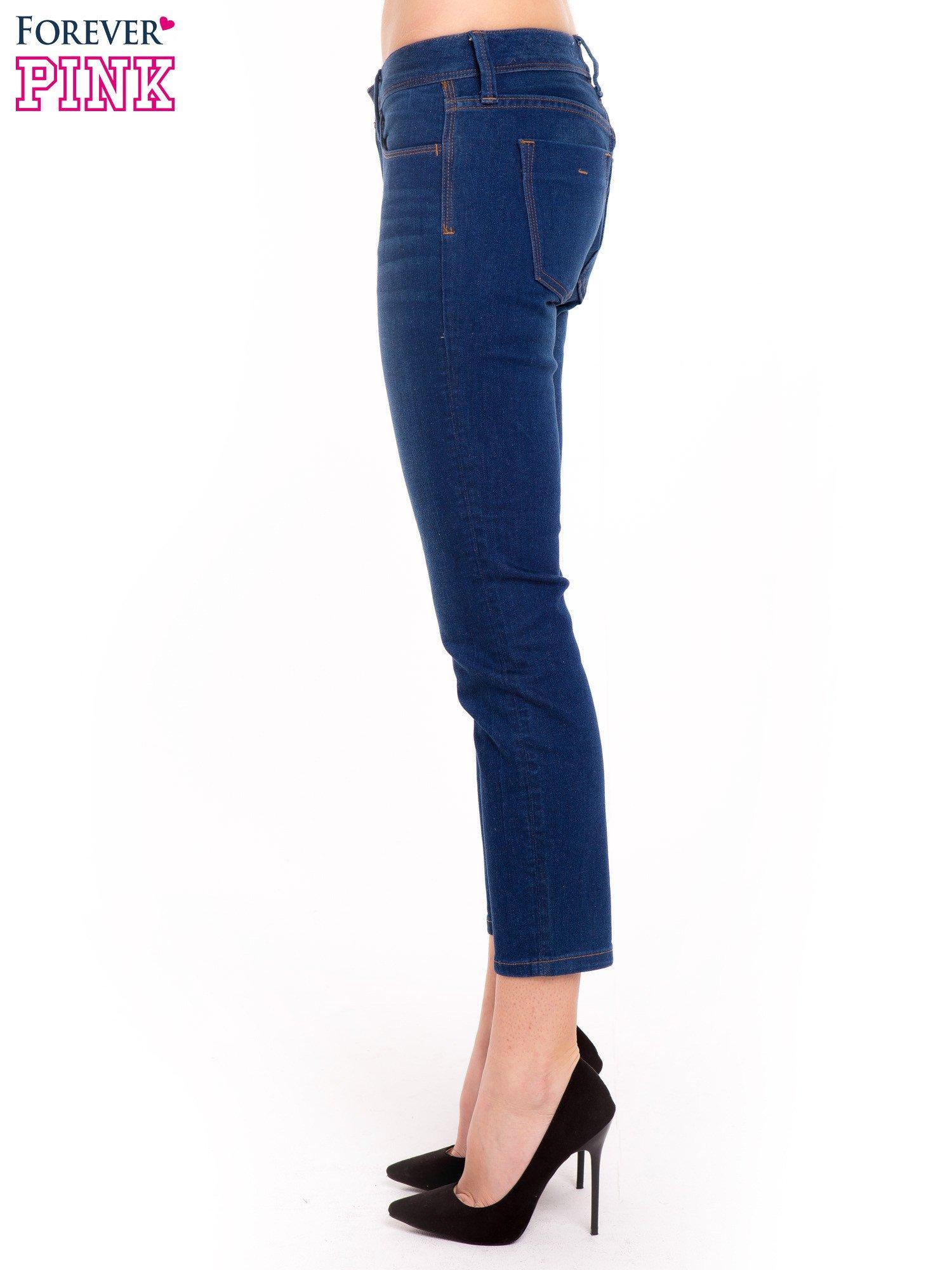 Niebieskie jeansy skinny ze średnim stanem                                  zdj.                                  3