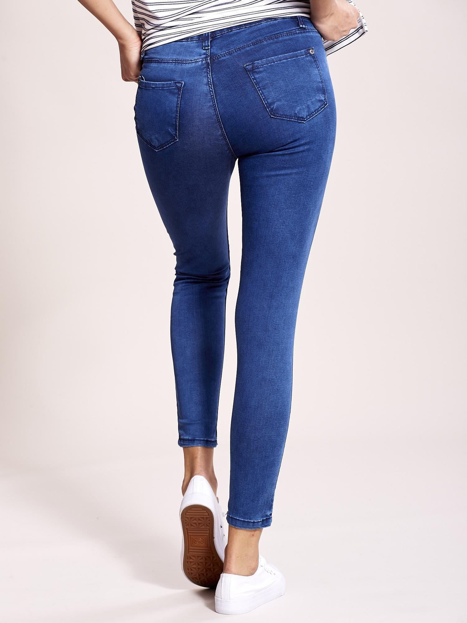 67f8b7f289b812 Niebieskie jeansy slim fit z wysokim stanem - Spodnie jeansowe - sklep  eButik.pl