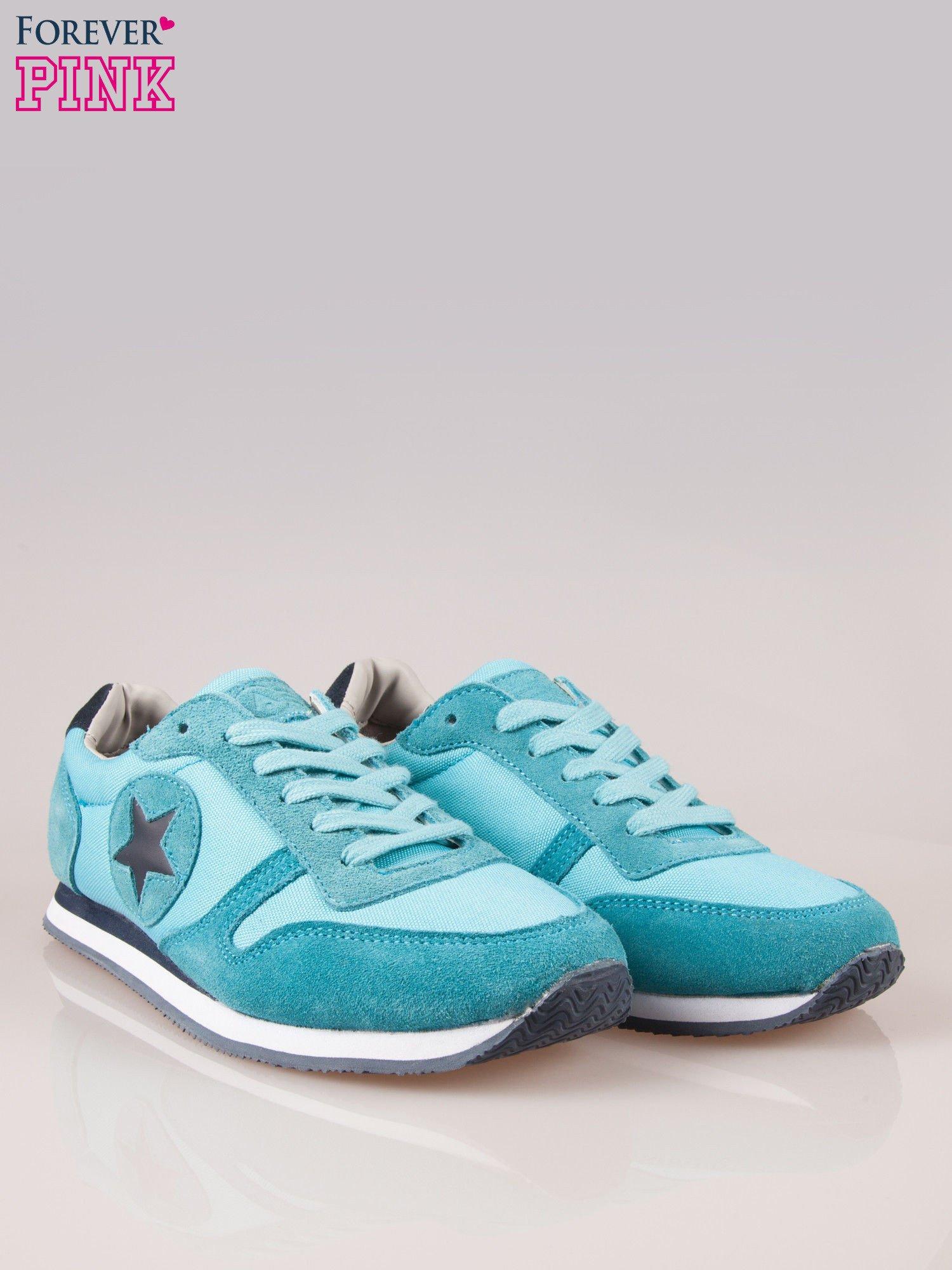Niebieskie miejskie buty sportowe z zamszu                                  zdj.                                  2