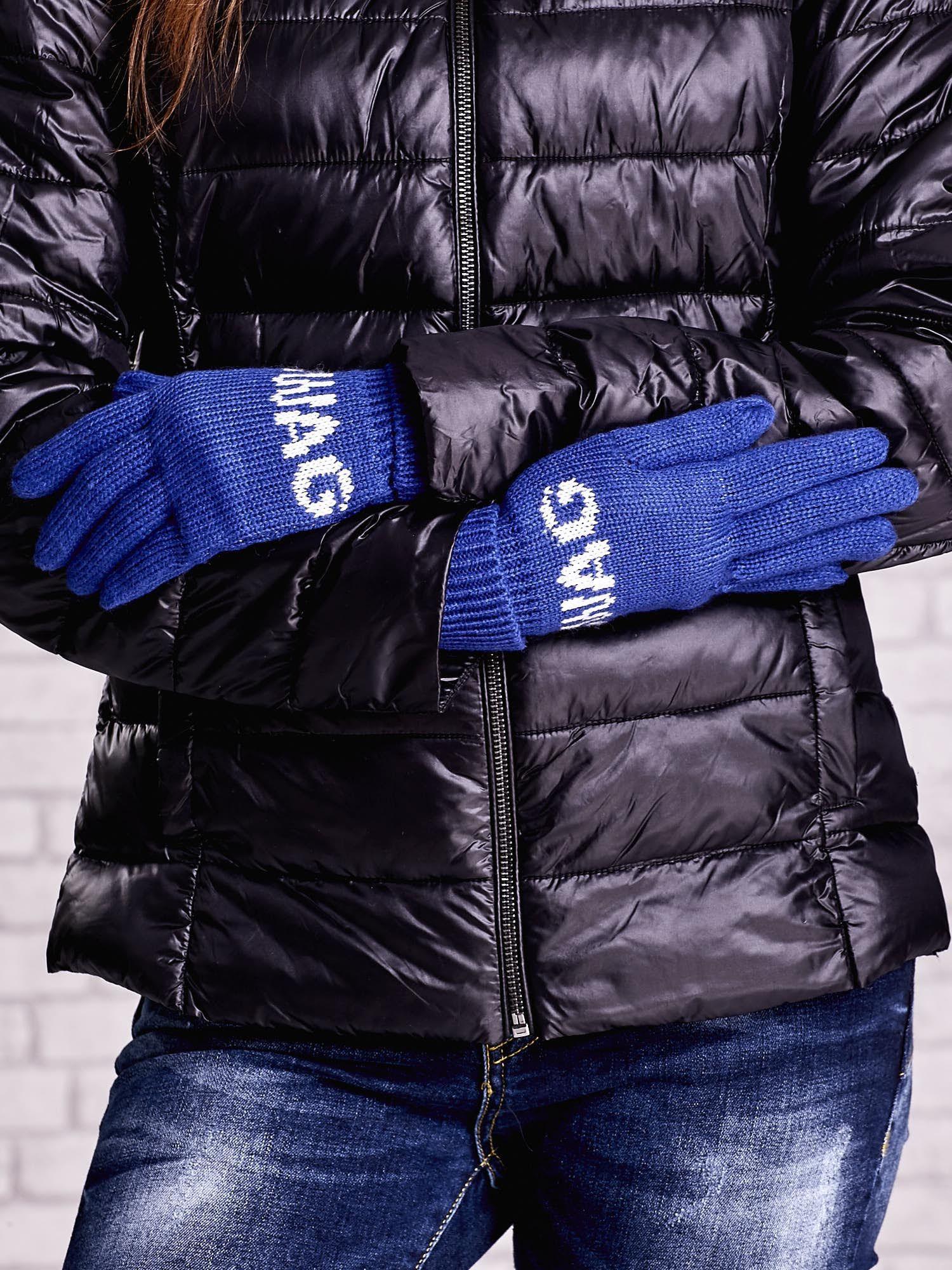 Niebieskie rękawiczki SWAG na pięć palców z wywijanym ściągaczem                                  zdj.                                  2