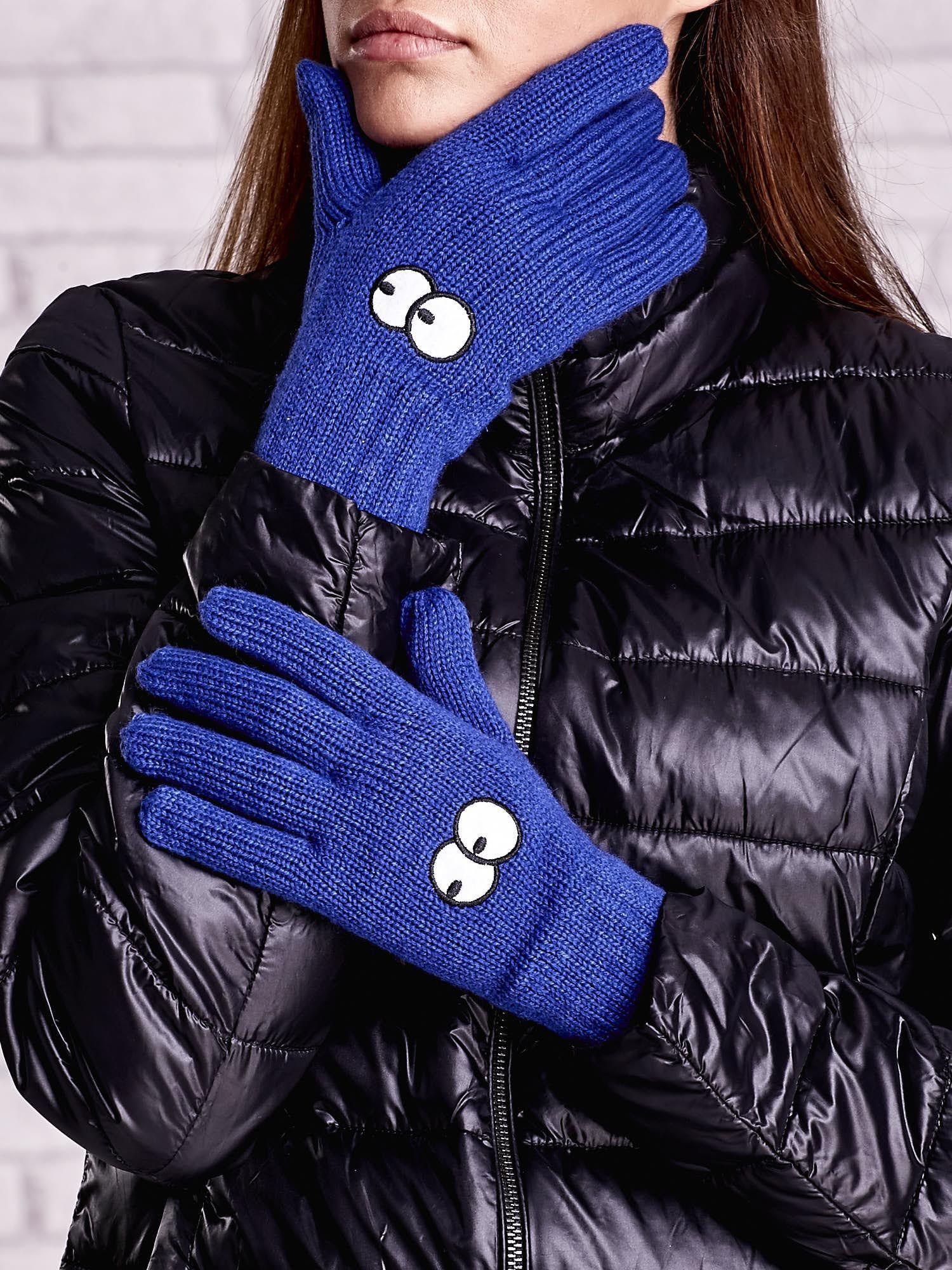 Niebieskie rękawiczki z nadrukiem oczu                                  zdj.                                  1