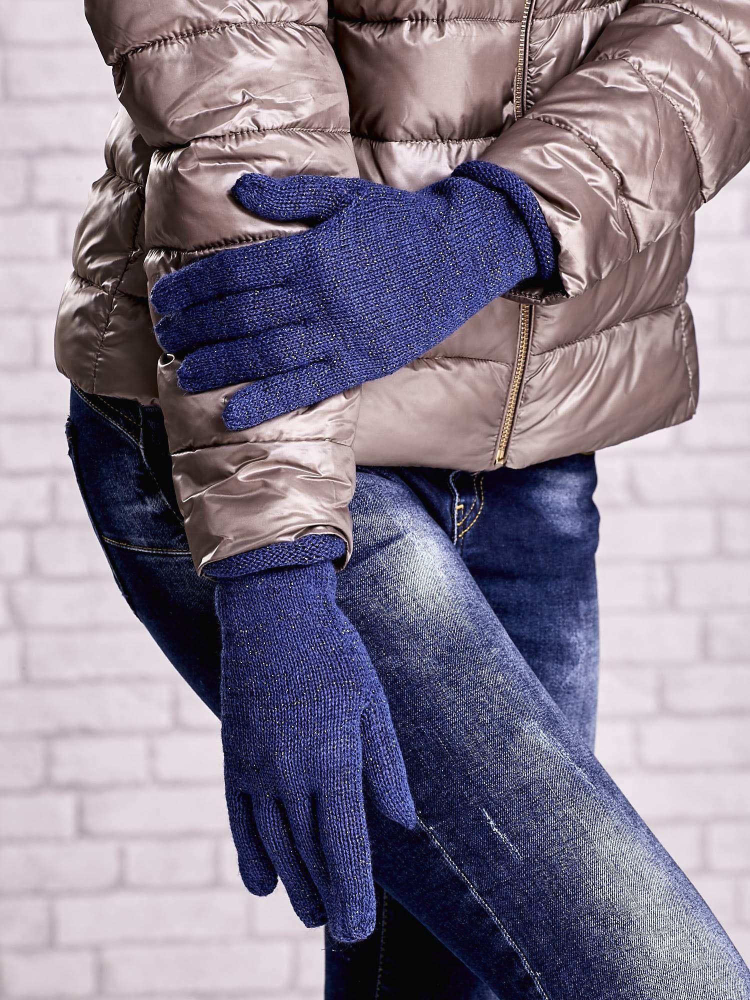 Niebieskie rękawiczki ze srebrną nicią z wywijanym mankietem                                  zdj.                                  3