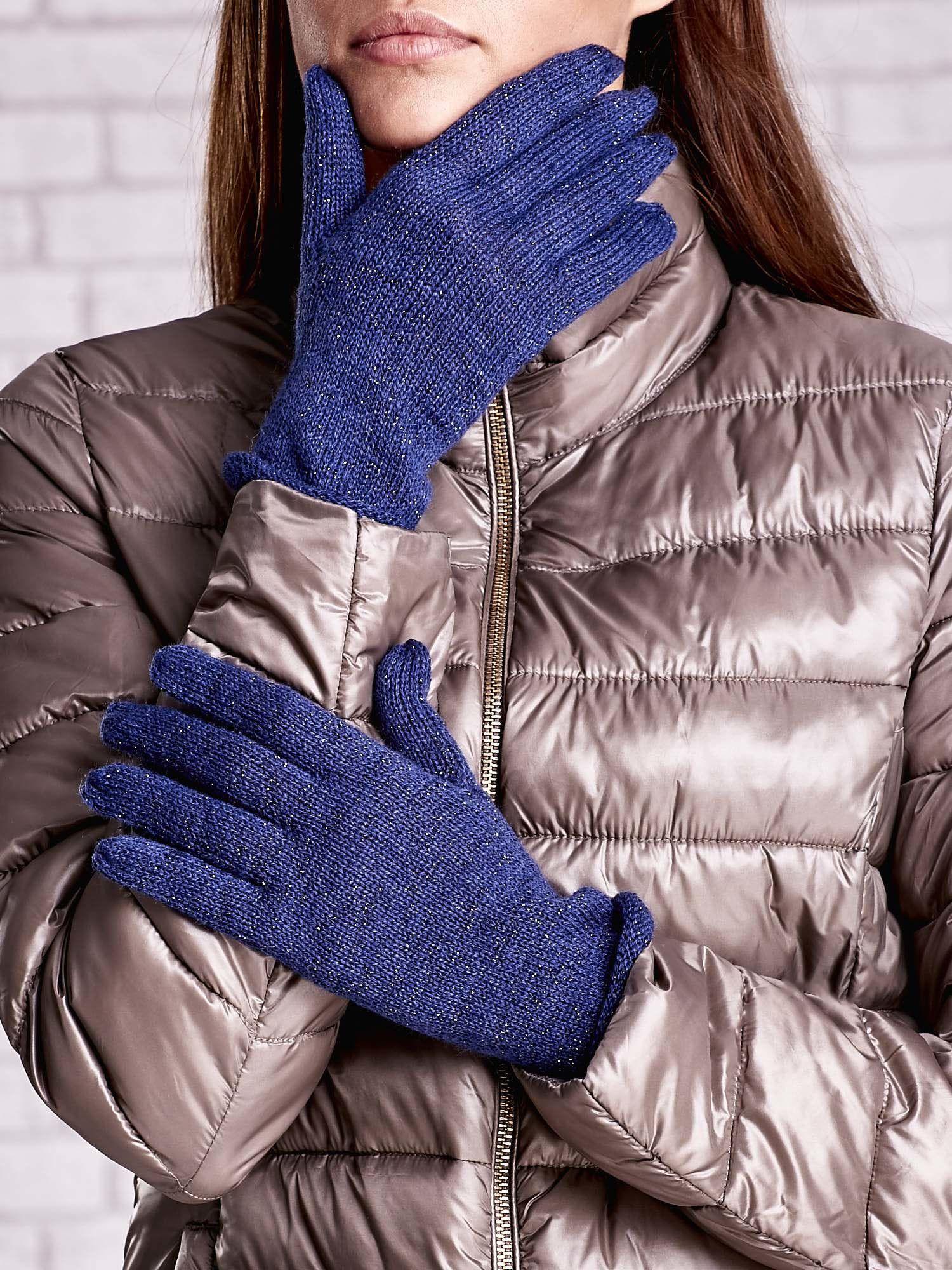 Niebieskie rękawiczki ze srebrną nicią z wywijanym mankietem                                  zdj.                                  1