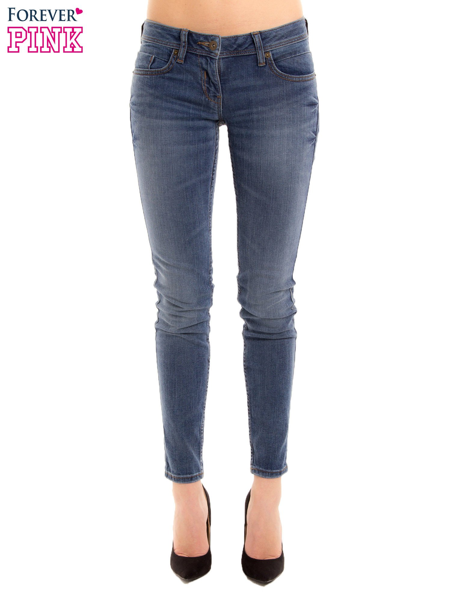 Niebieskie rurki skinny jeans                                  zdj.                                  1