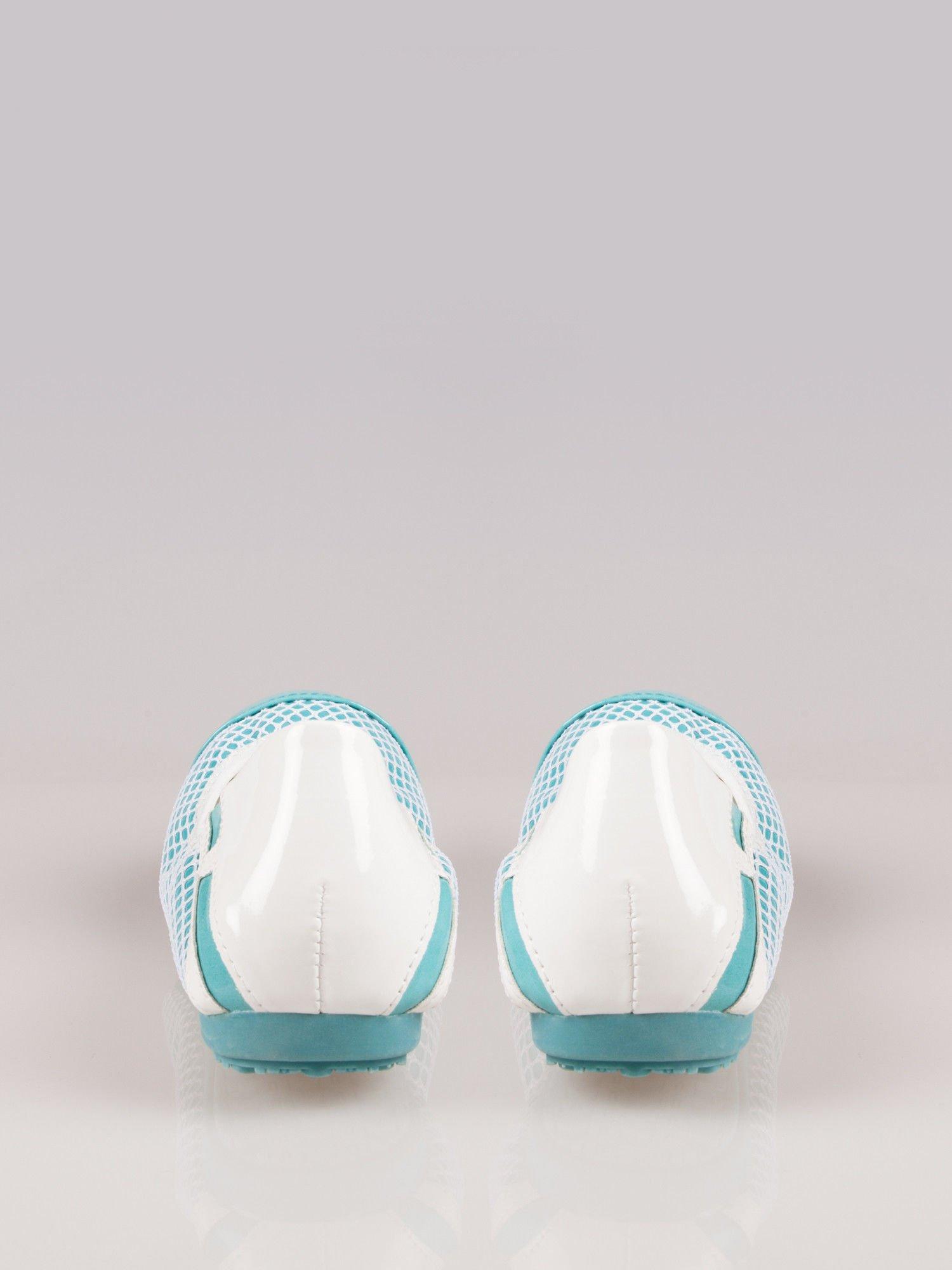 Niebieskie siateczkowe baleriny Whippie na gumkę                                  zdj.                                  1