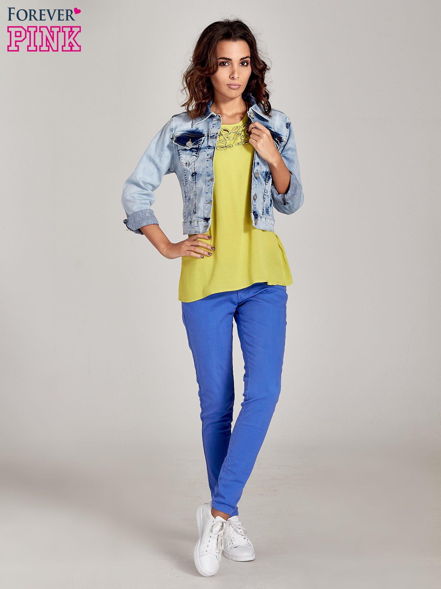 Niebieskie spodnie jeansowe rurki                                  zdj.                                  6