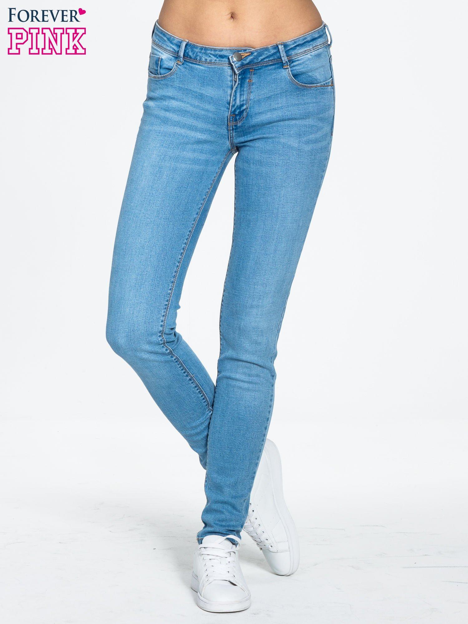 Niebieskie spodnie jeansowe super skinny                                  zdj.                                  1
