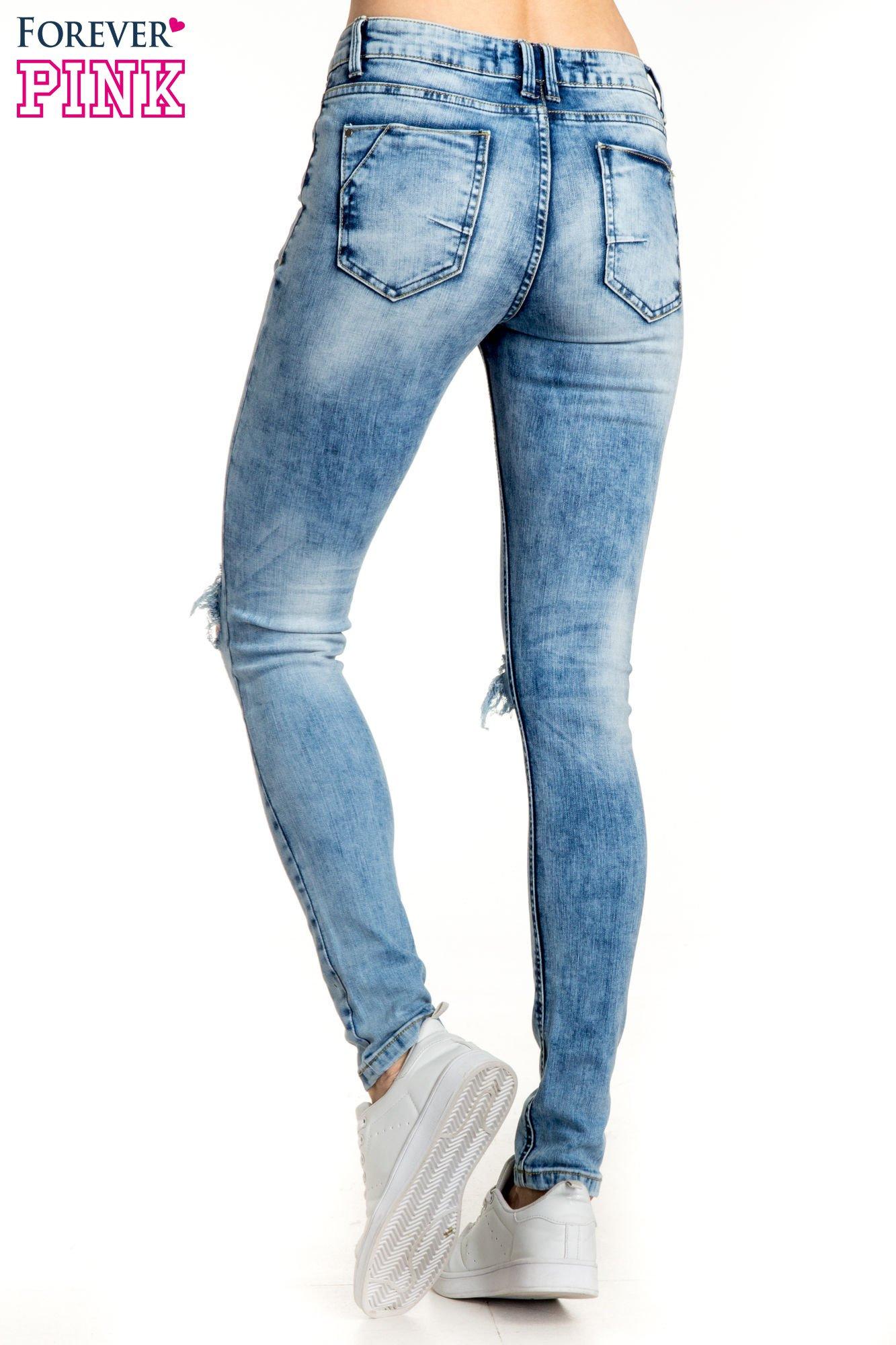 Niebieskie spodnie skinny jeans ripped knee                                  zdj.                                  3