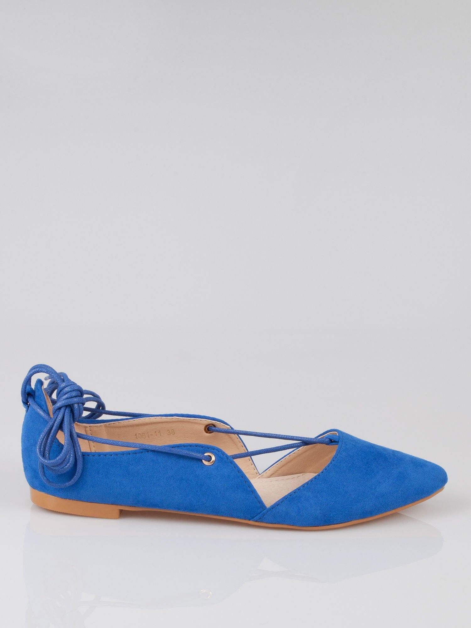 Niebieskie zamszowe wiązane baleriny faux suede lace up                                  zdj.                                  1