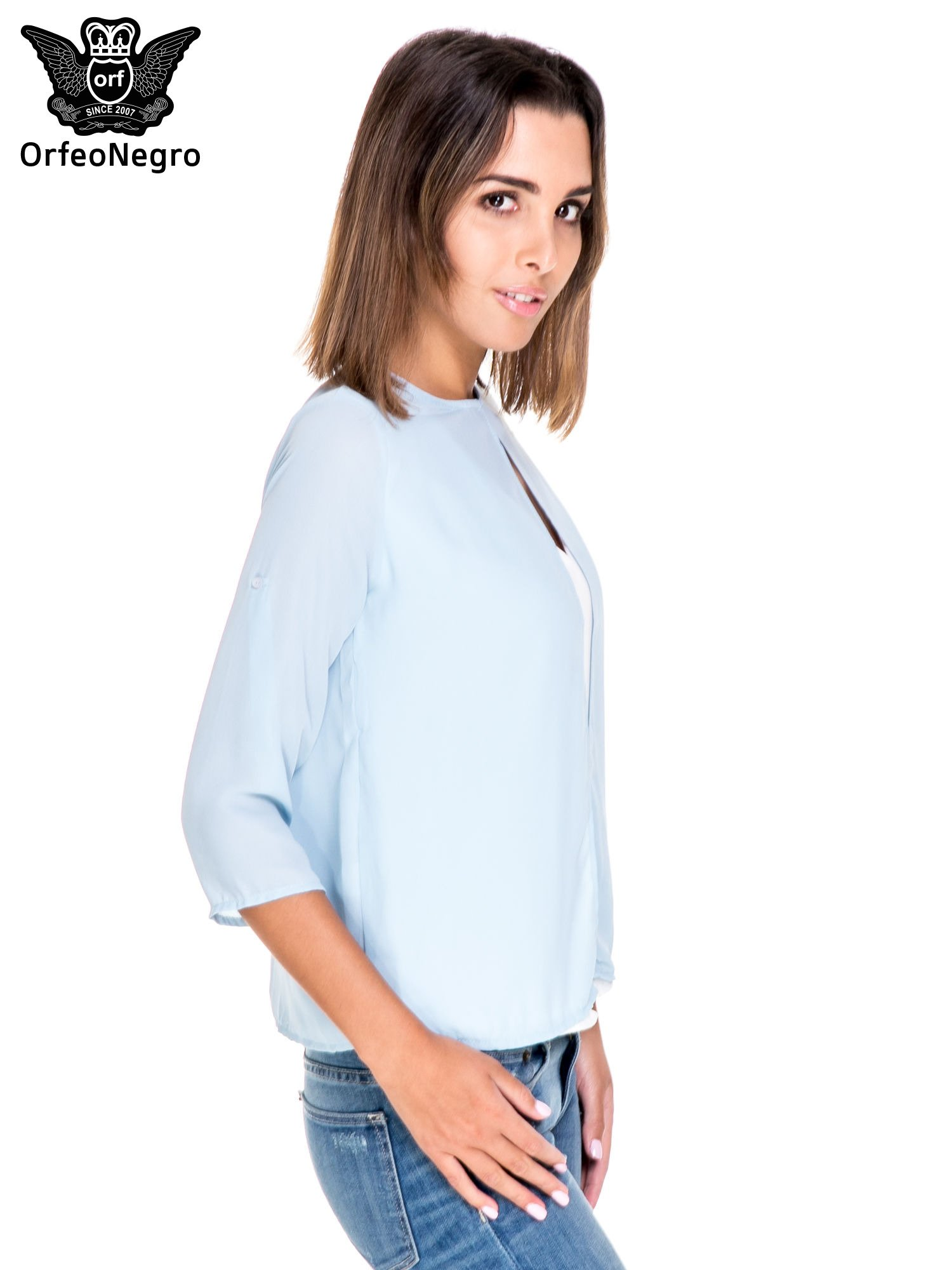 Niebiesko-biała dwuwarstwowa koszula o kroju narzutki                                  zdj.                                  3
