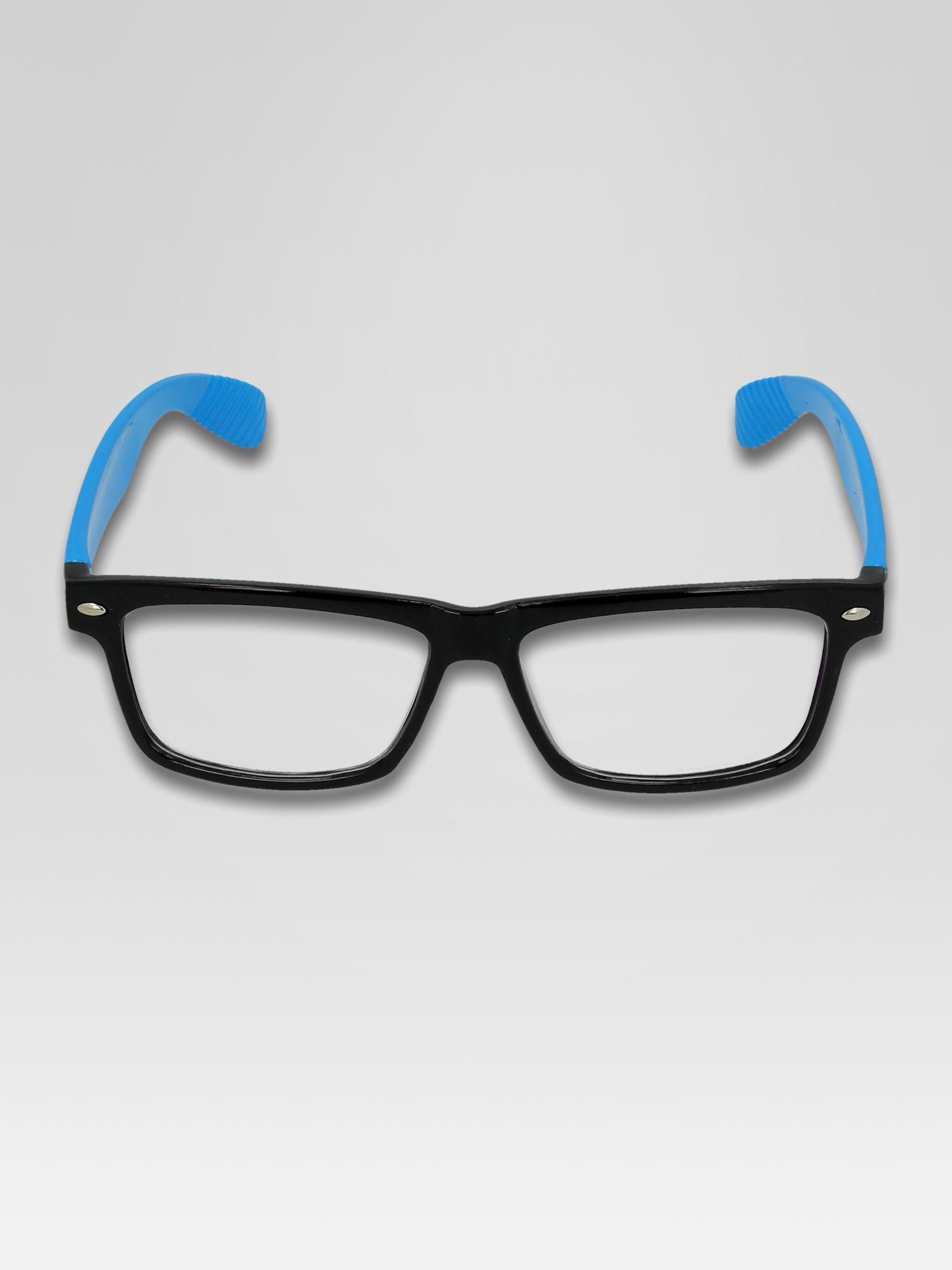 Niebiesko-czarne okulary zerówki kujonki typu WAYFARER NERDY                                  zdj.                                  4