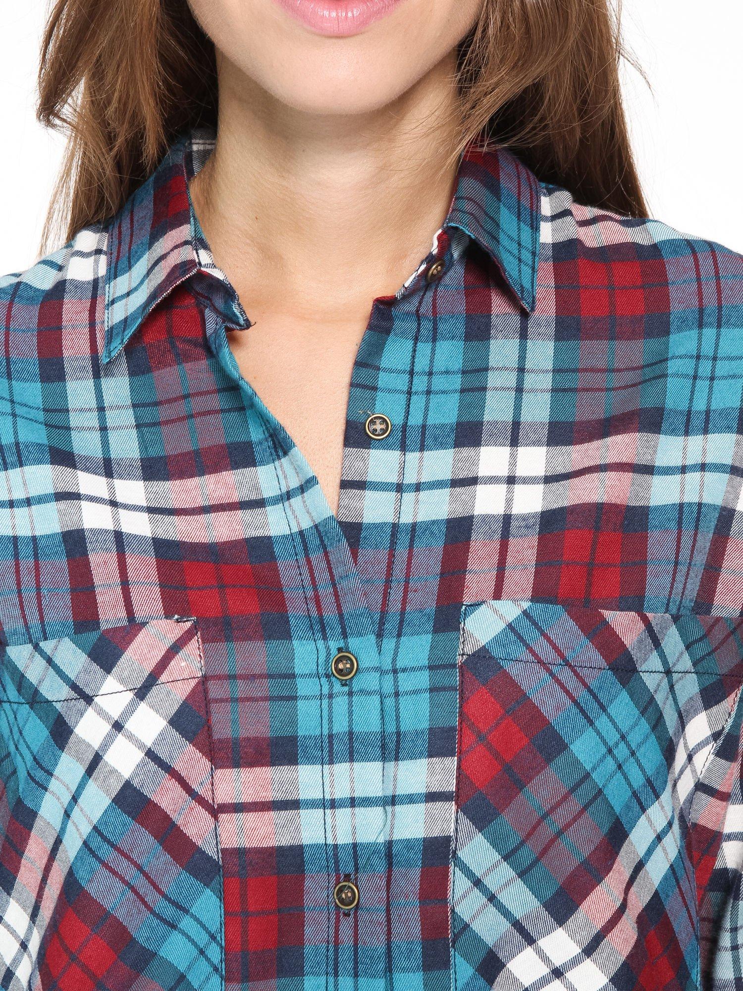 Niebiesko-czerwona bawełniana dłuższa koszula w kratę                                  zdj.                                  11