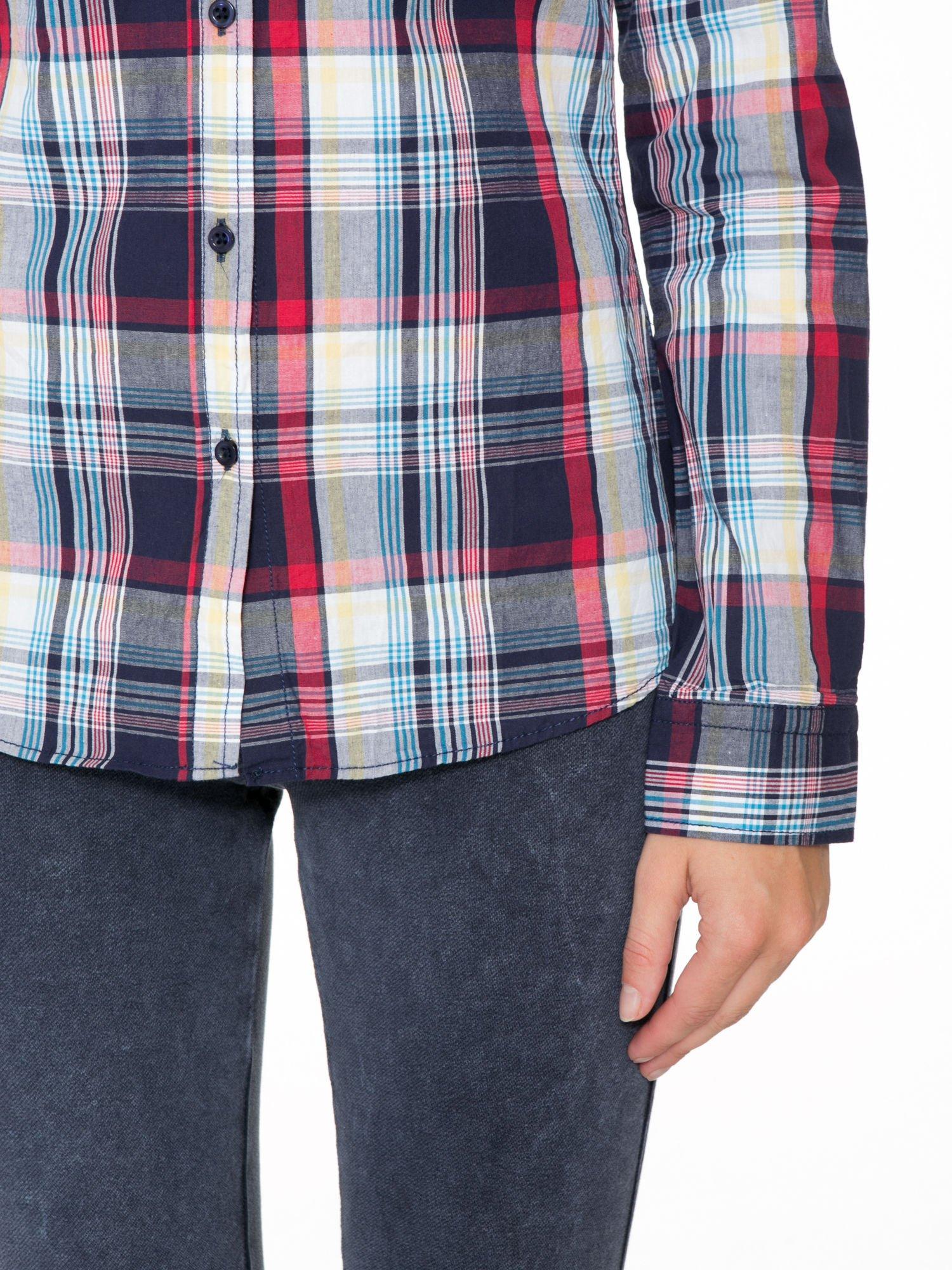 Niebiesko-czerwona koszula w kratę z kieszeniami                                  zdj.                                  6