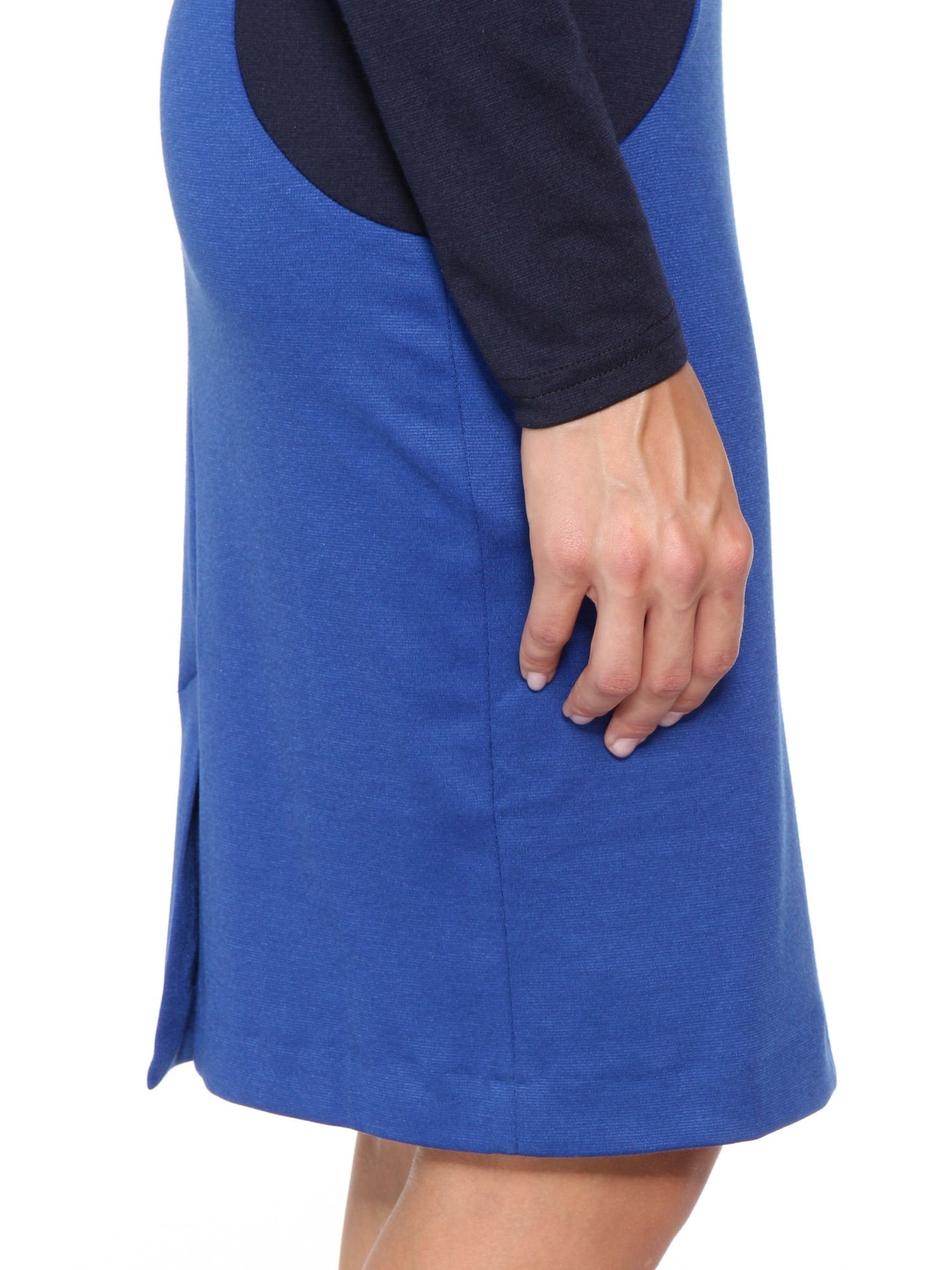 Niebiesko-granatowa sukienka modułowa z zamkiem z tyłu                                  zdj.                                  7