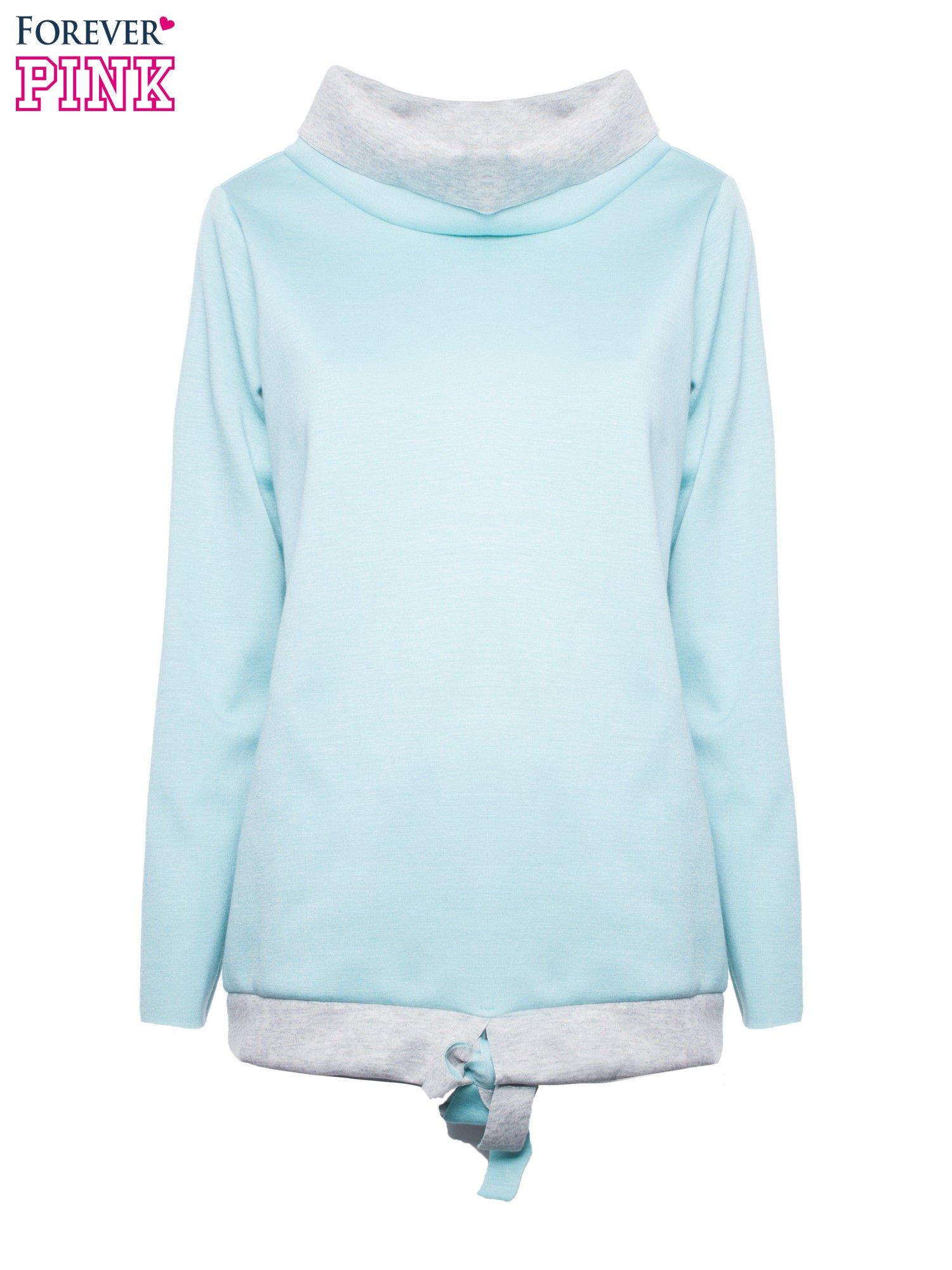 Niebiesko-szara bluza z wywijanym kołnierzem                                  zdj.                                  2