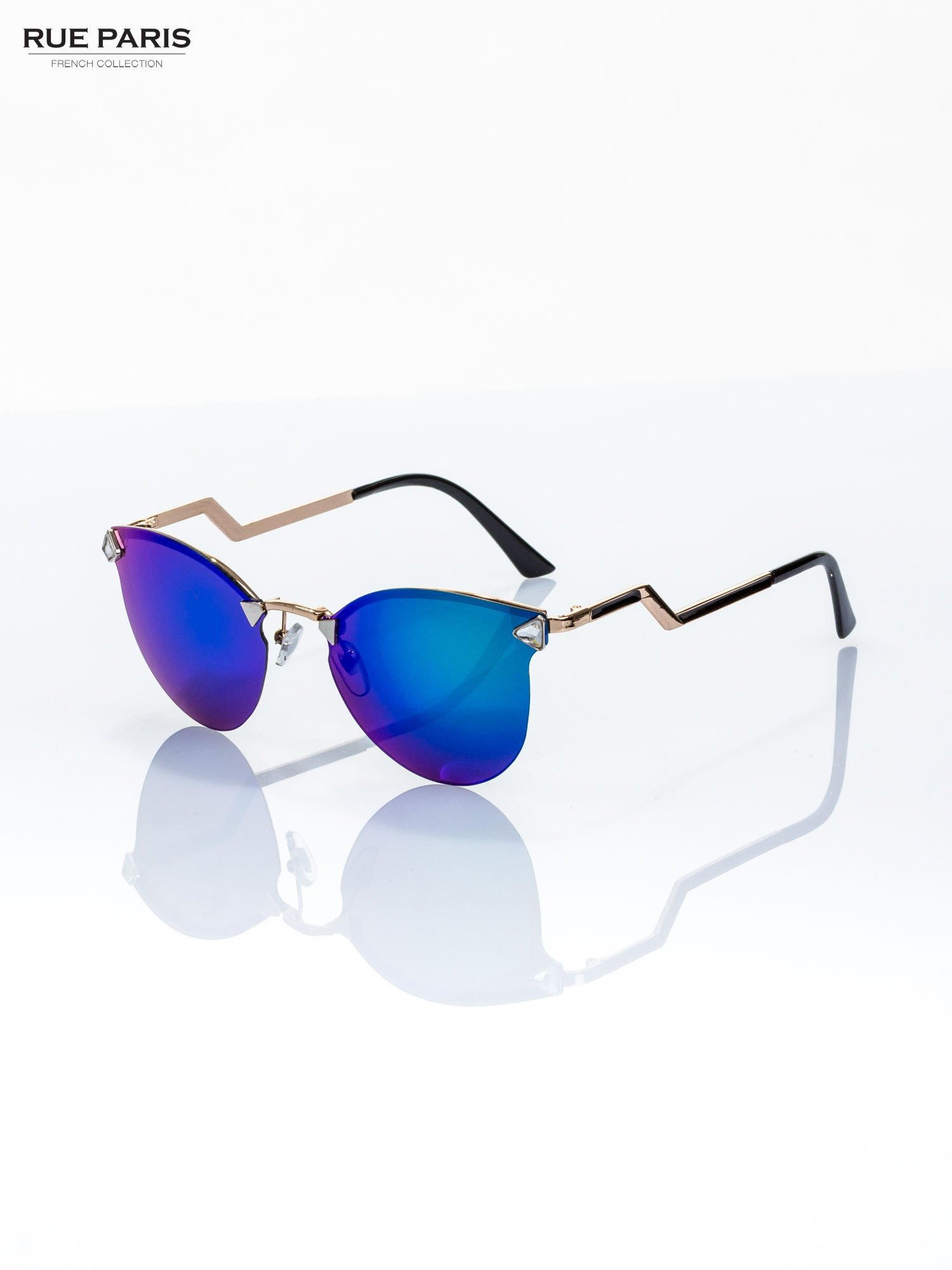 744e69fb9dd33 Niebiesko-zielone okulary przeciwsłoneczne stylizowane na FENDI - Akcesoria  okulary przeciwsłoneczne - sklep eButik.pl